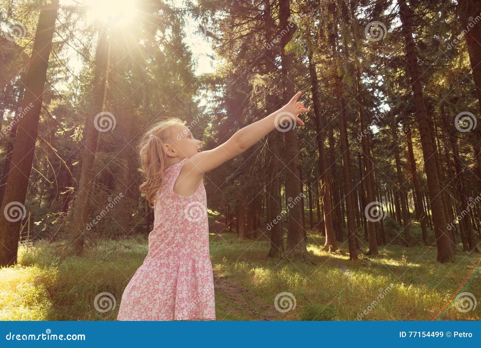 Branche mignonne de portée de fille de petit enfant dans la forêt d été
