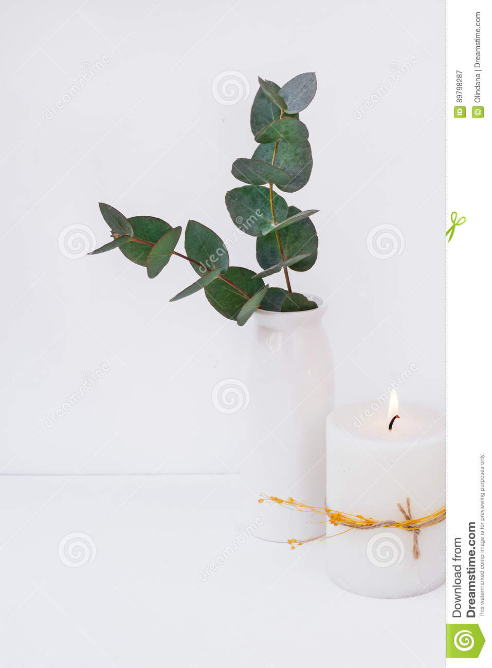 Branches of green silver dollar eucalyptus in ceramic vase, burning candle on white background, styled image