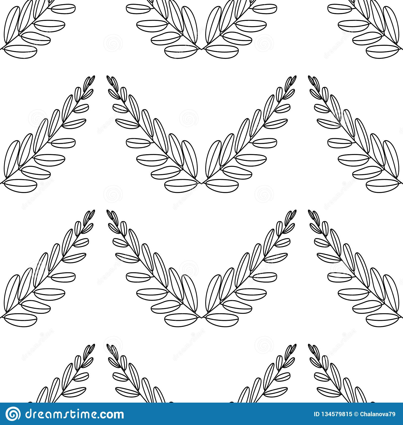 Branches Of Olives Symbol Victory Vector Illustration Flat Silhouette Black White Icon Design Laurel Wreath Awards Roman Ornate