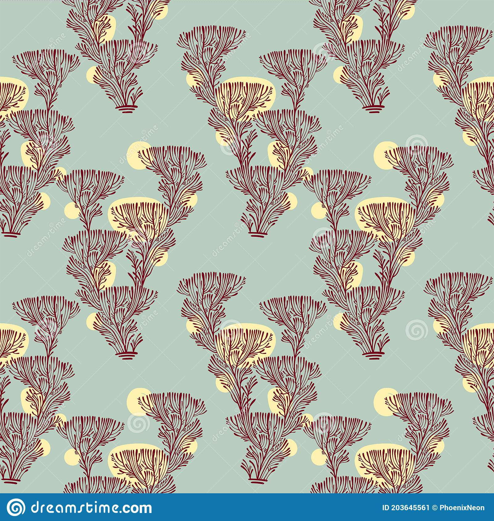 Branches Of Tree Or Coral Seamless Pattern Mellow Vintage Minimalism Aesthetic Retro Background Stock Vector Illustration Of 1970s Branch 203645561