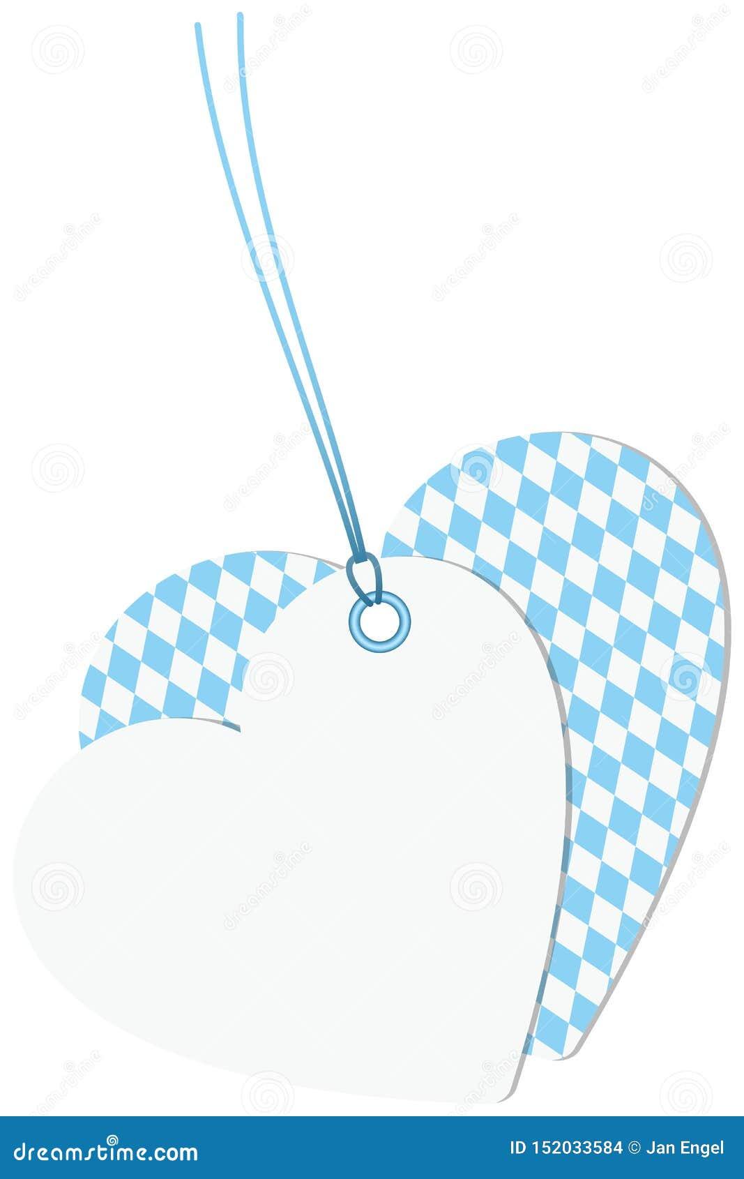 Branco de Oktoberfest Diamond Pattern Light Blue And de dois corações dos Hangtags