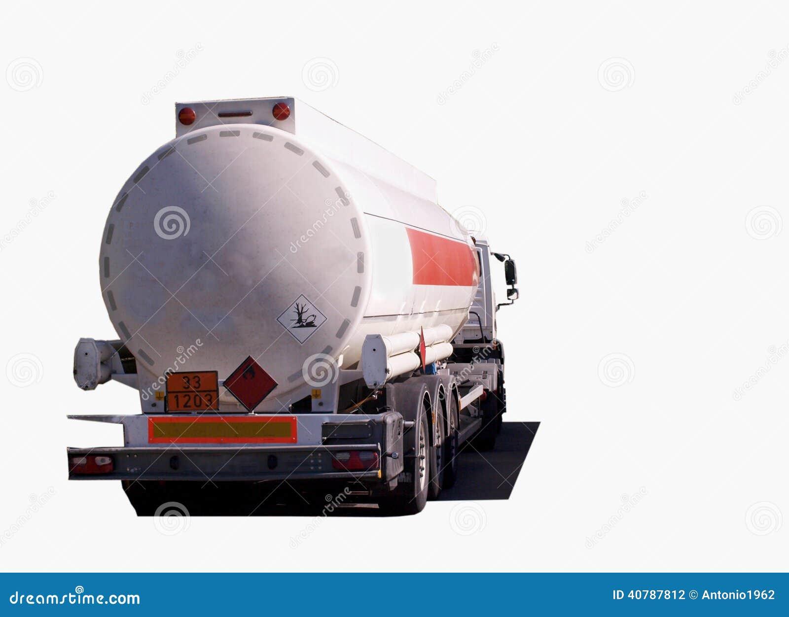 Branco isolado do caminhão de petroleiro