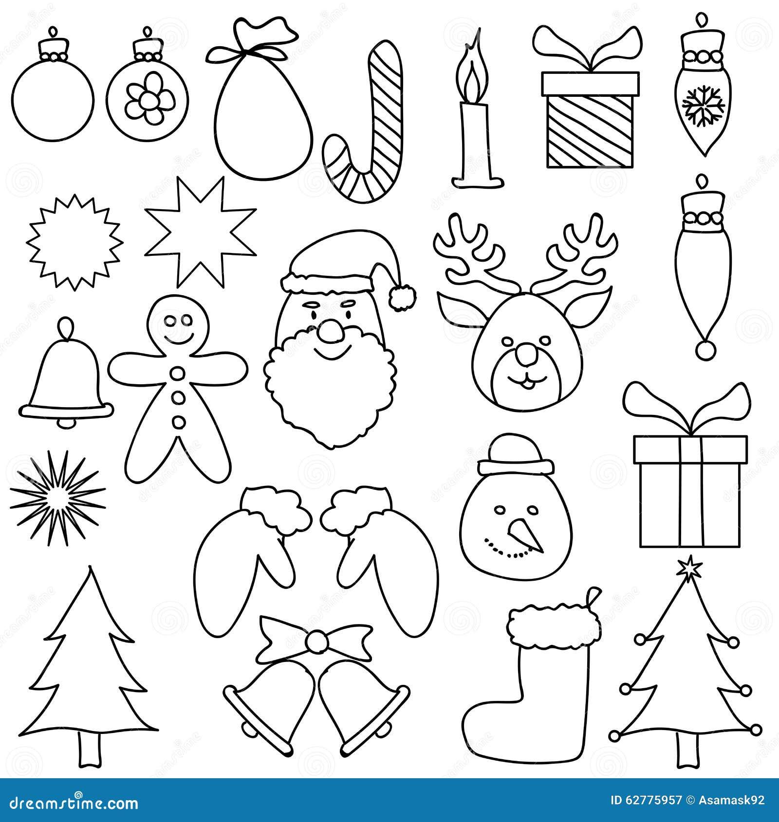 Branco Preto Ajustado Do Desenho Do Ornamento Do Natal Ilustracao