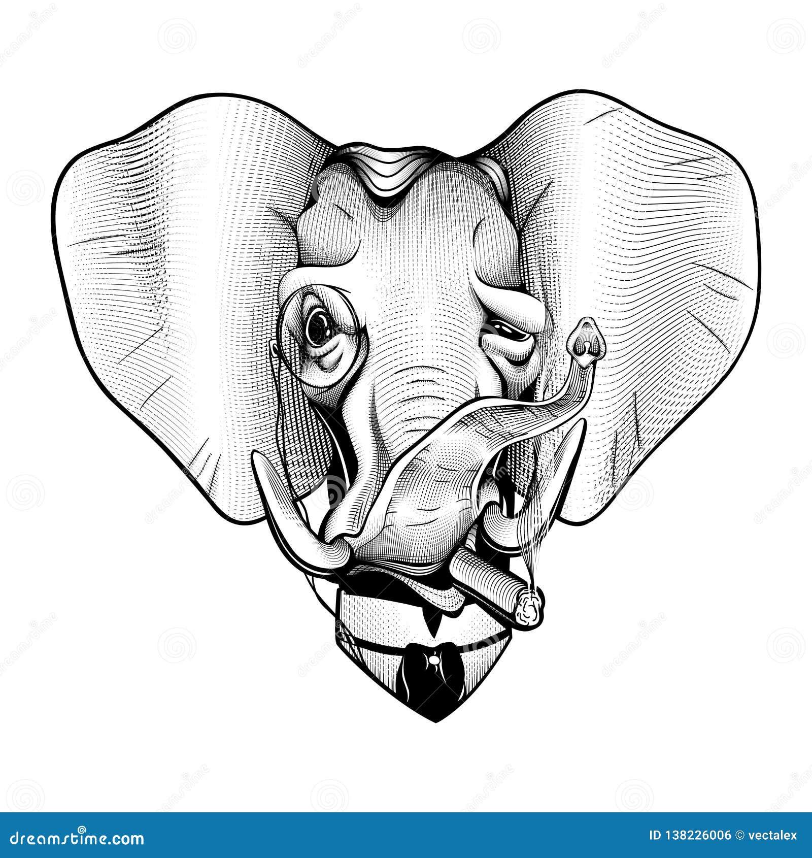 Branco preto patriótico elegante republicano americano do milionário vitoriano do elefante do cavalheiro