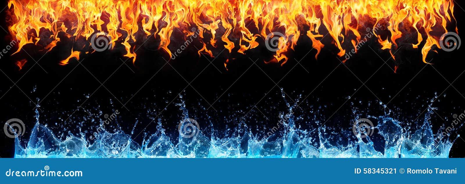 Brand en water op zwarte