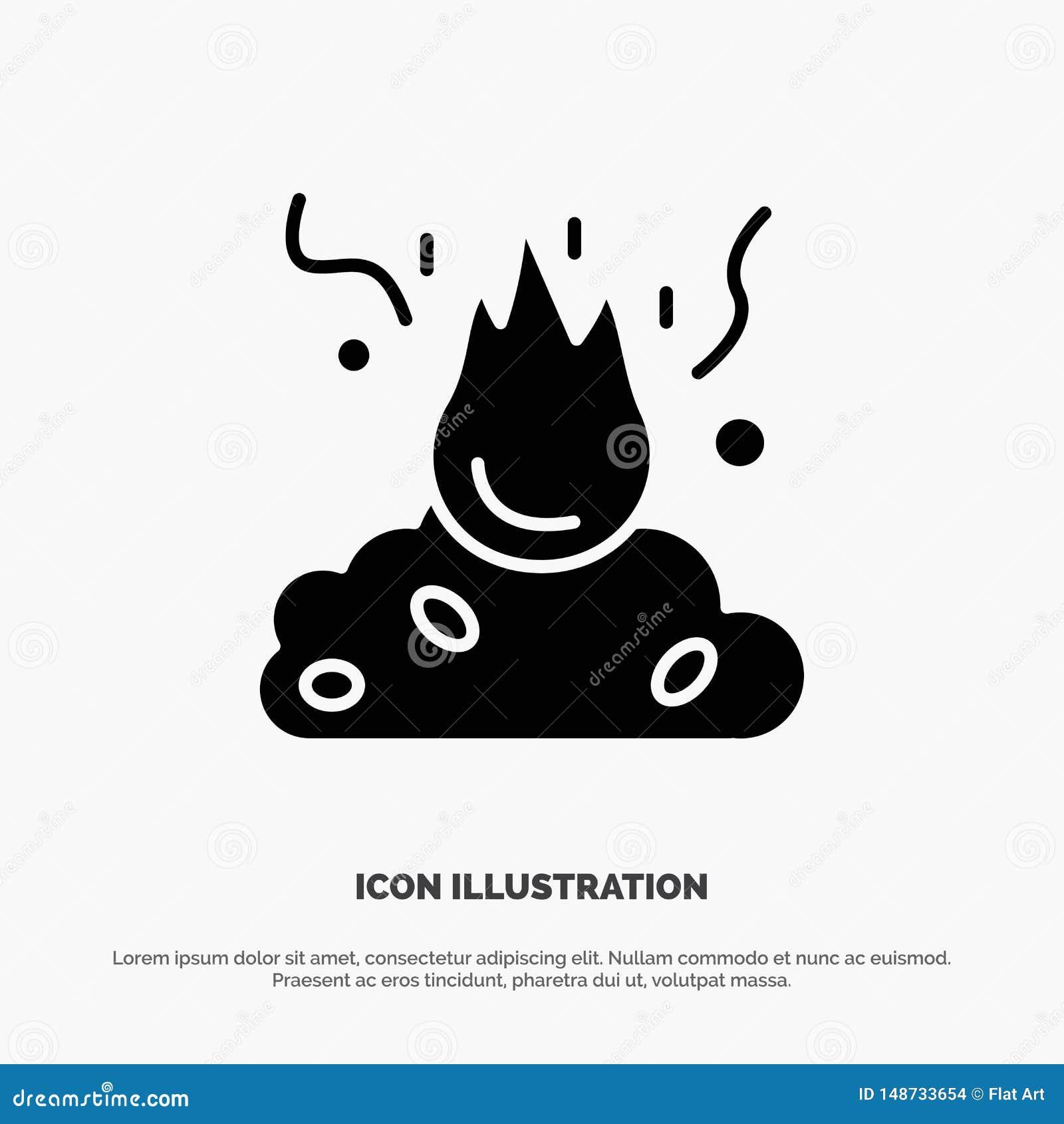 Brand, Feuer, Abfall, Verschmutzung, Rauch fester Glyph-Ikonenvektor