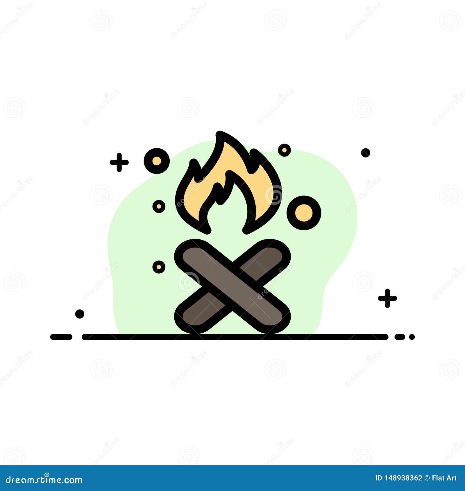 Brand, Feuer, Abfall, Verschmutzung, Rauch-Geschäfts-flache Linie füllte Ikonen-Vektor-Fahnen-Schablone