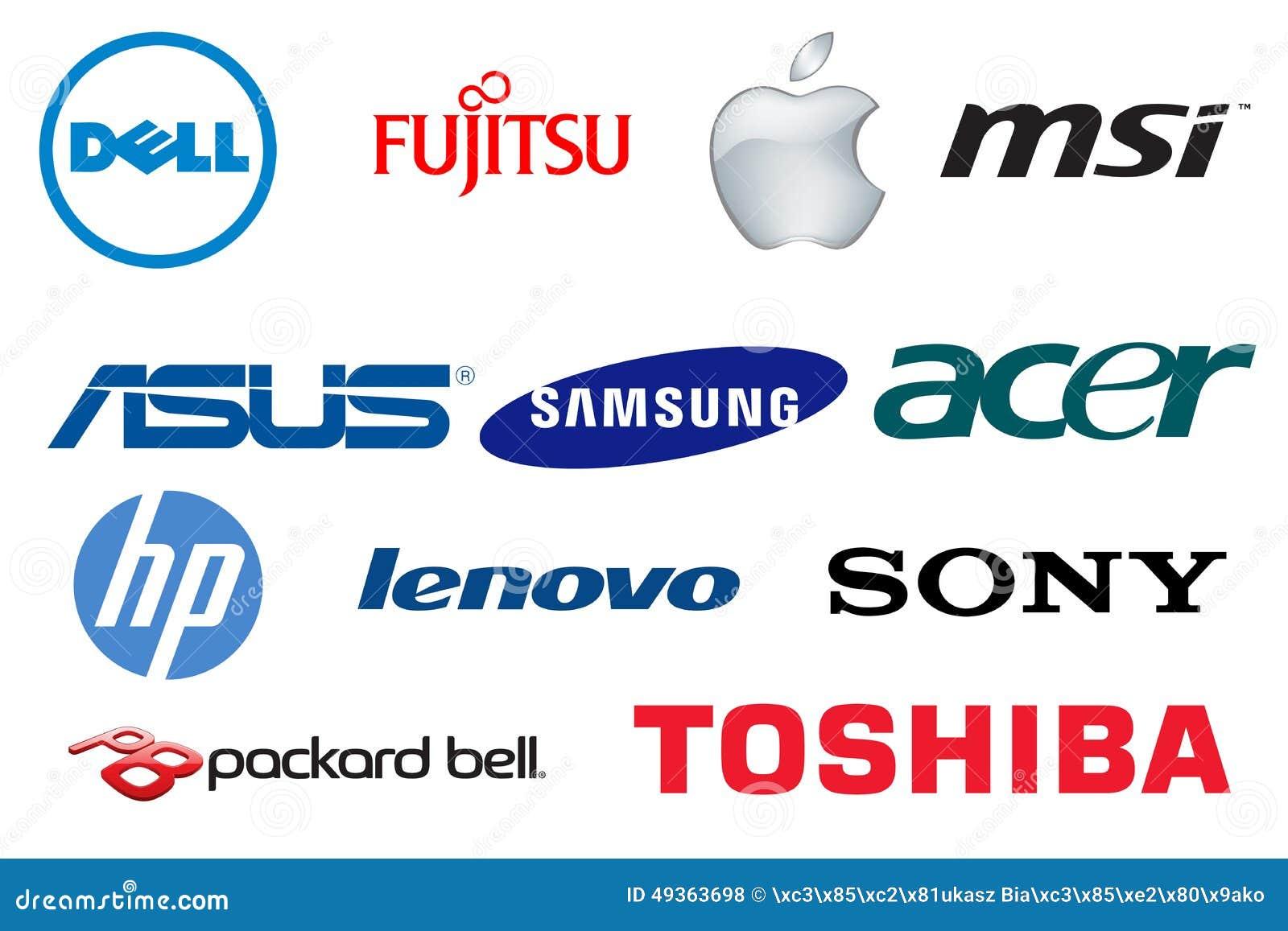 Royalty Free Stock Photos: Brand Laptops Logos. Image: 49363698