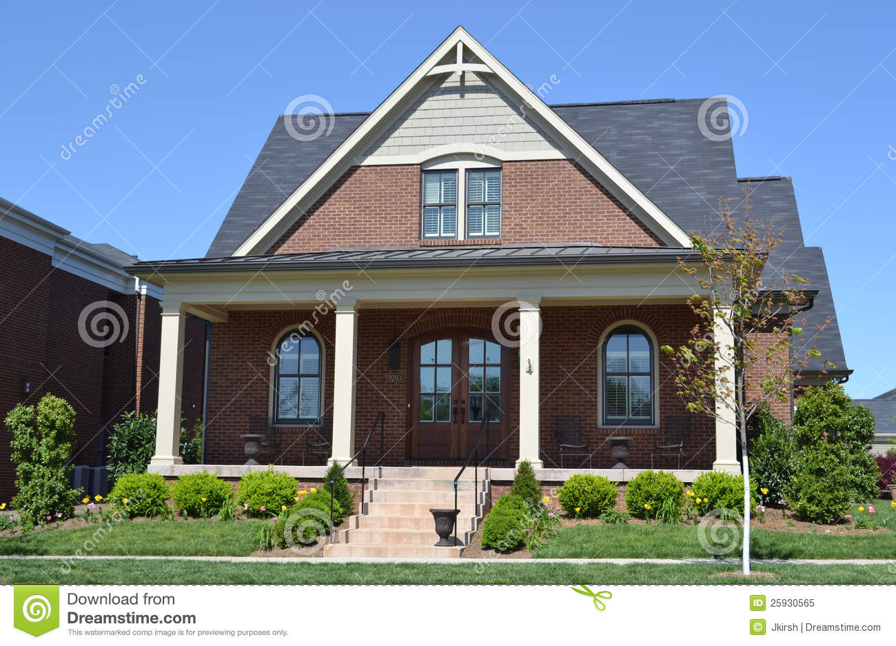 Brand new brick new england style home stock image image for Home construction styles