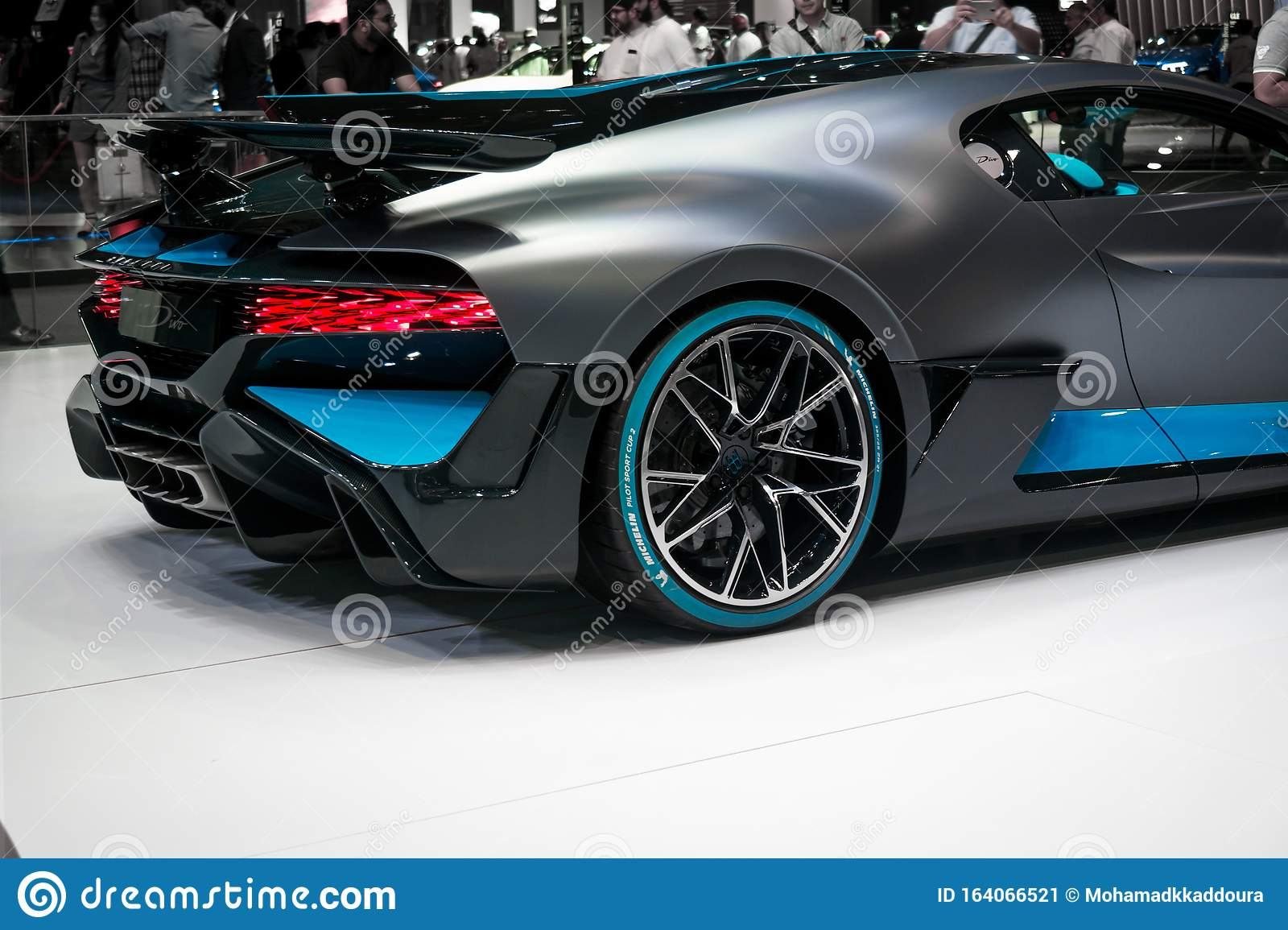 The Brand New 2020 Bugatti Divo In Metallic Black And Blue Displayed In A Car Show In Dubai Editorial Photo Image Of Future Exposition 164066521