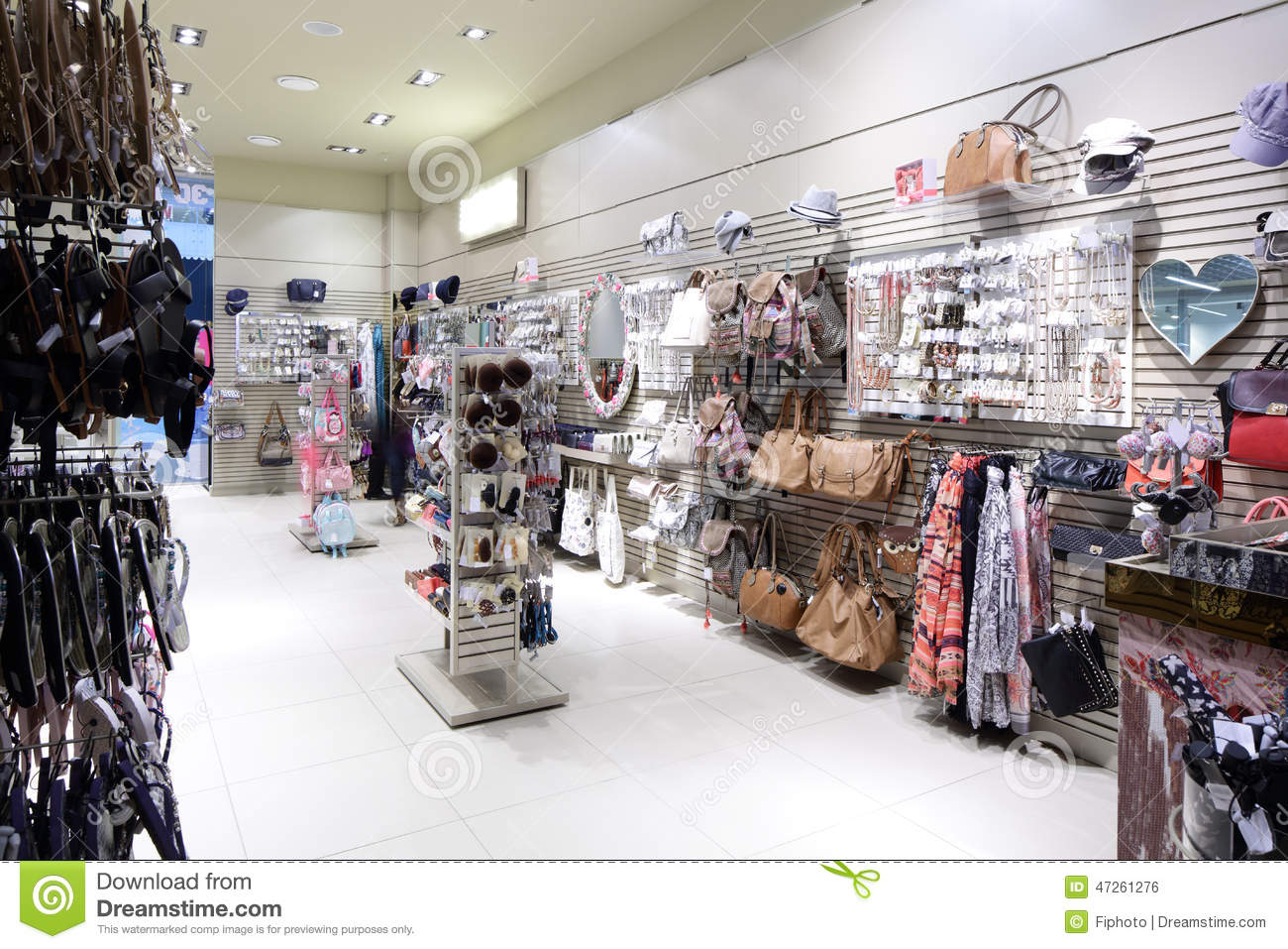 Brand New Interior Of Accessories Store Stock Photo