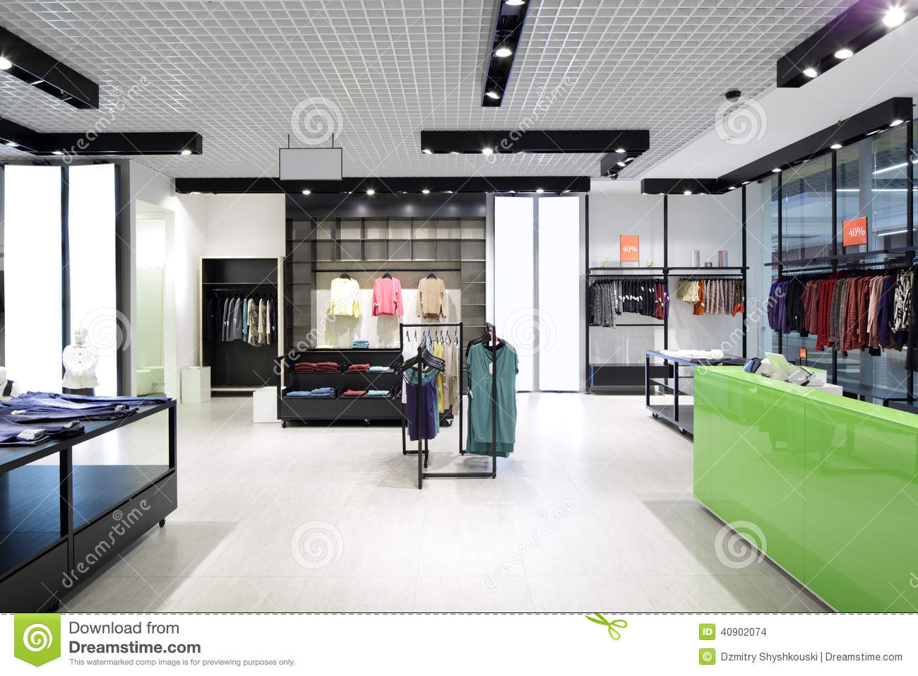 Brand new interior of cloth store royalty free stock photo for New interior