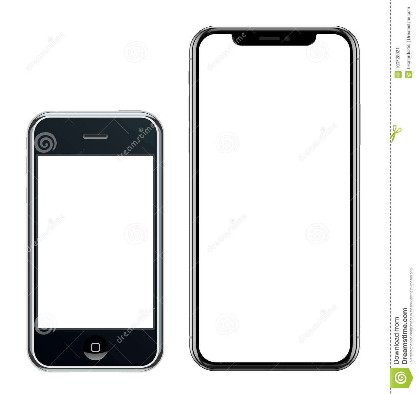 Brand new realistic mobile phone black smartphone in Apple iPhone and iPhone X