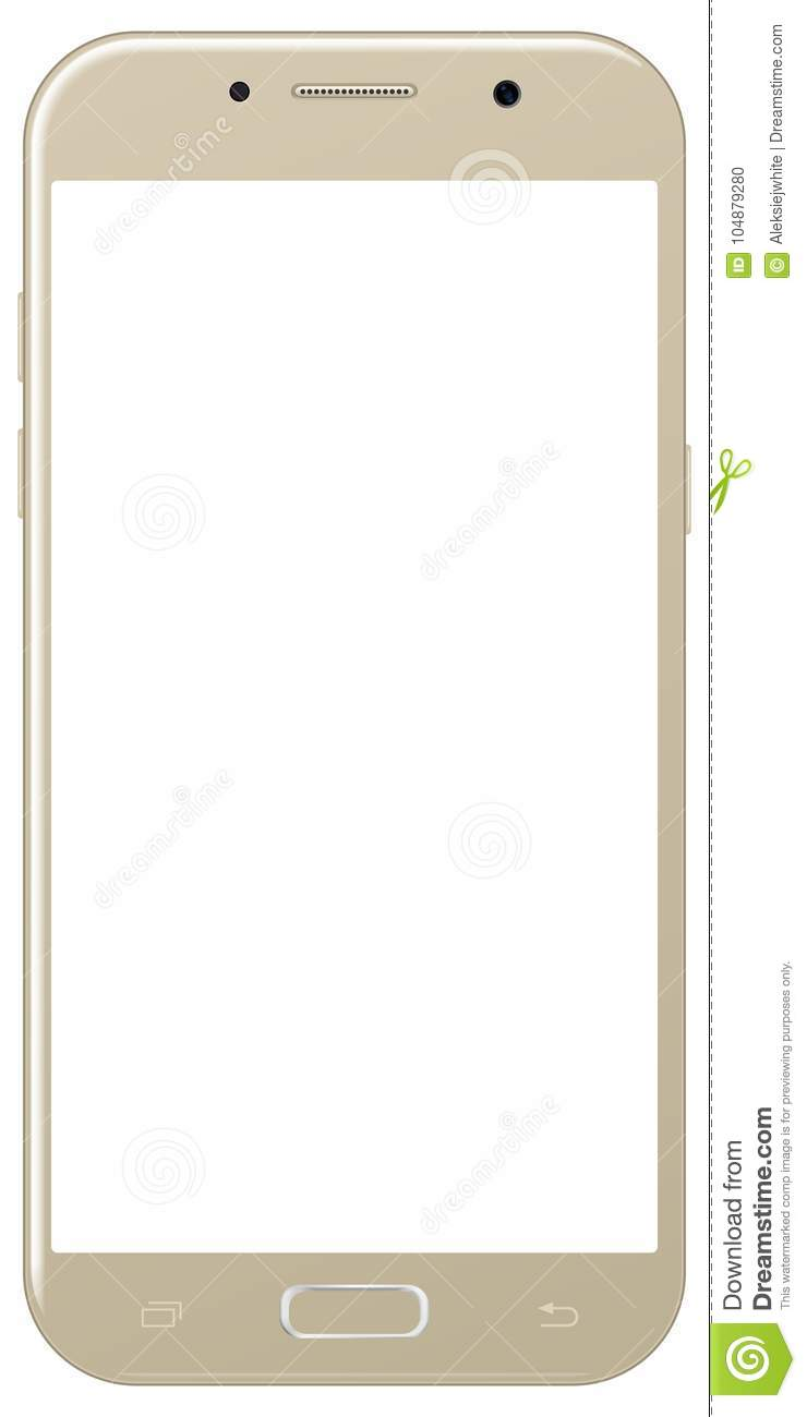Brand New Smartphone Golden Color With Blank Screen Isolated