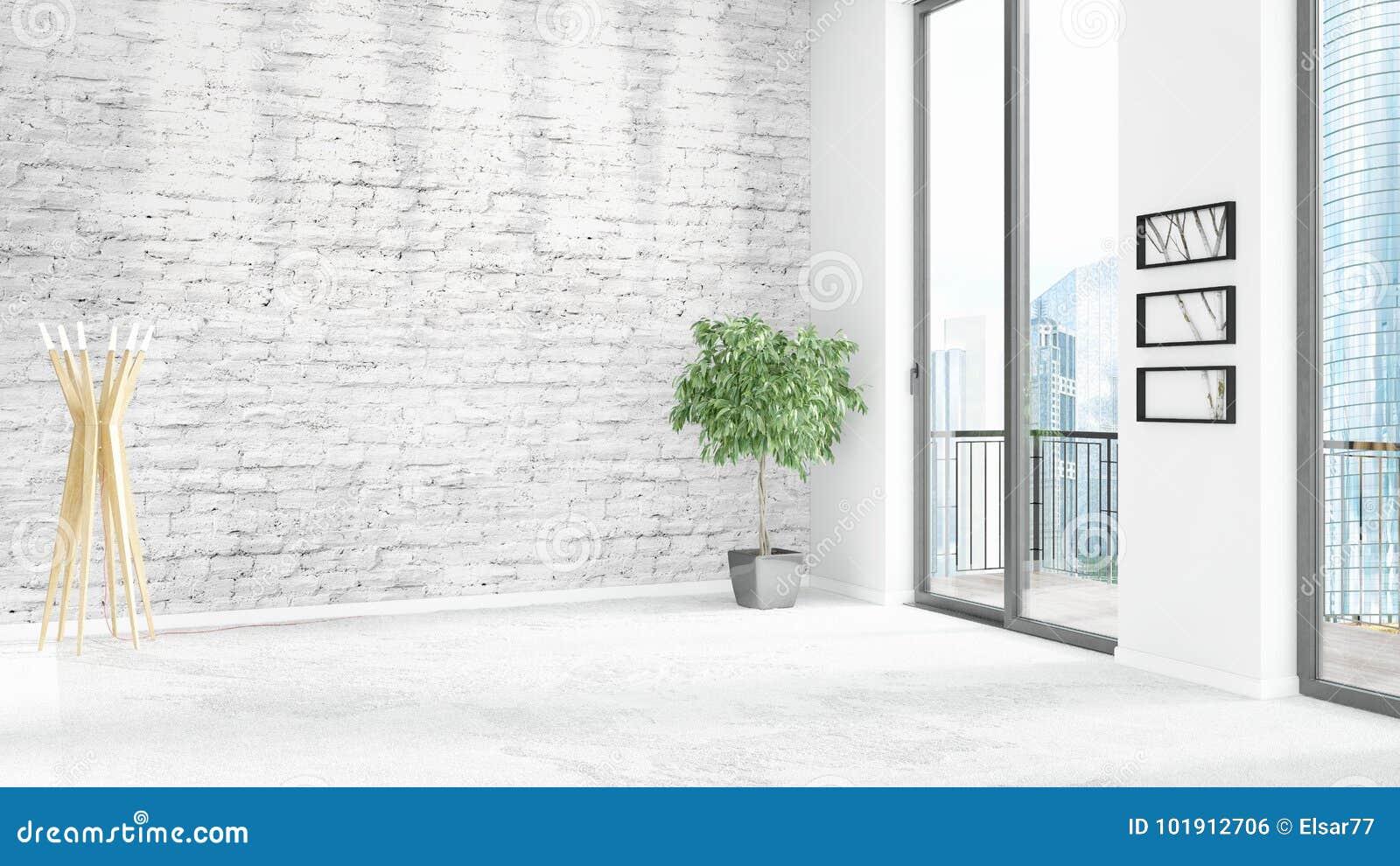 Brand New White Loft Bedroom Minimal Style Interior Design