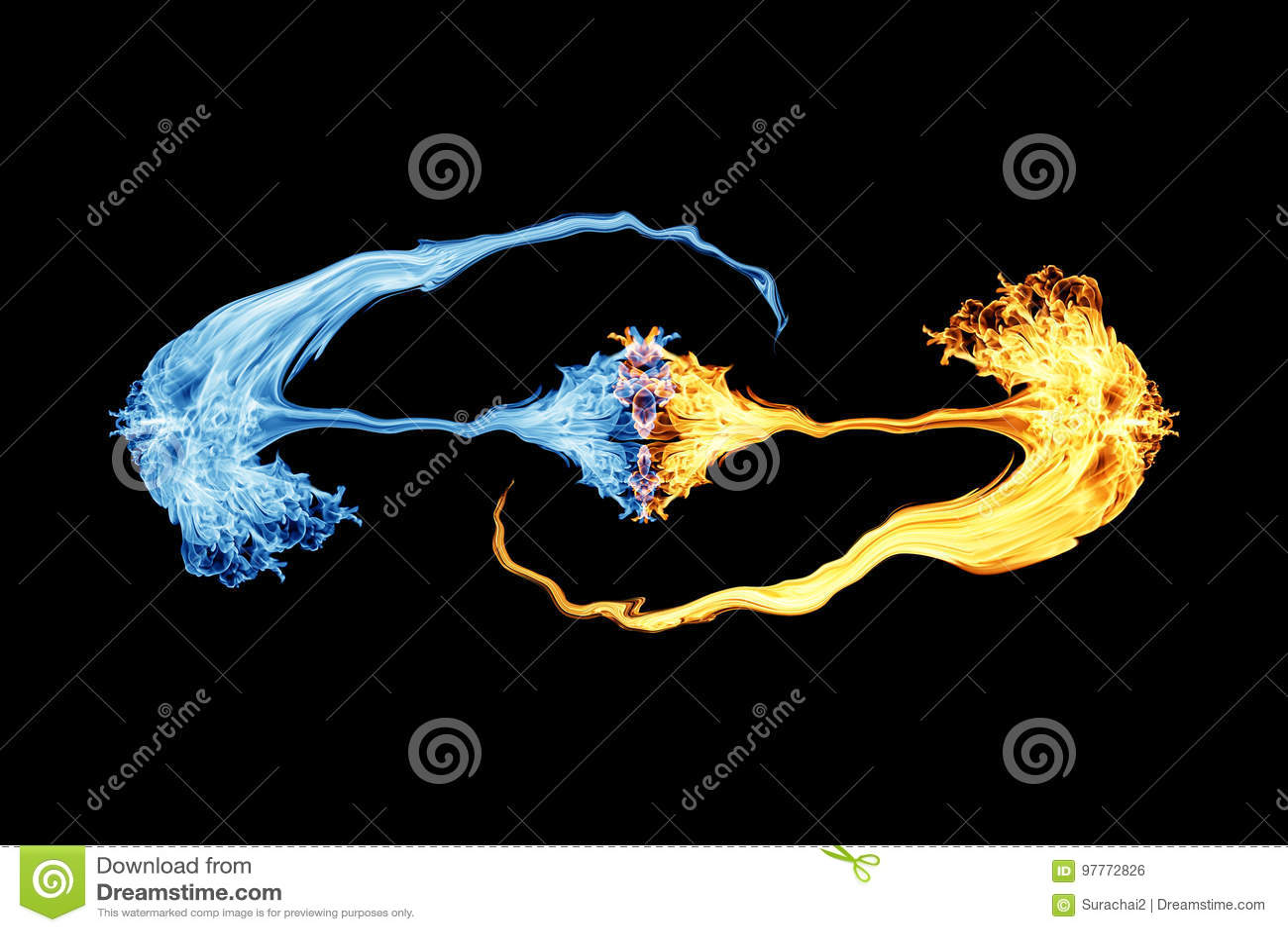 Brand och is, brandflamma och rök på svart