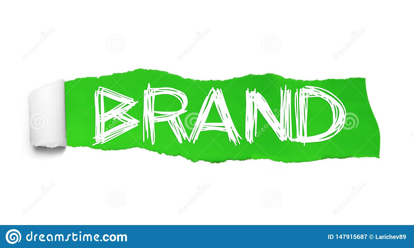 BRAND. Word collage appearing behind green torn paper