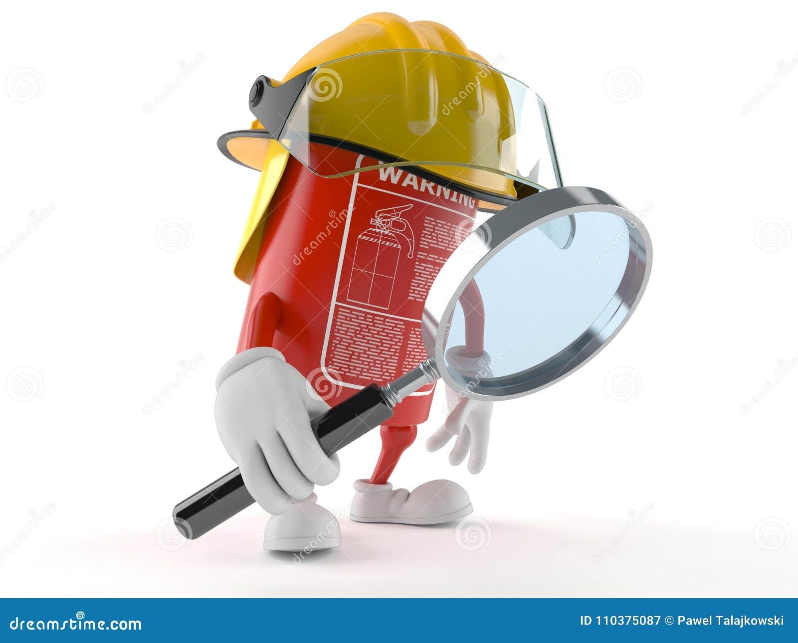 Brandblusapparaatkarakter die door vergrootglas kijken