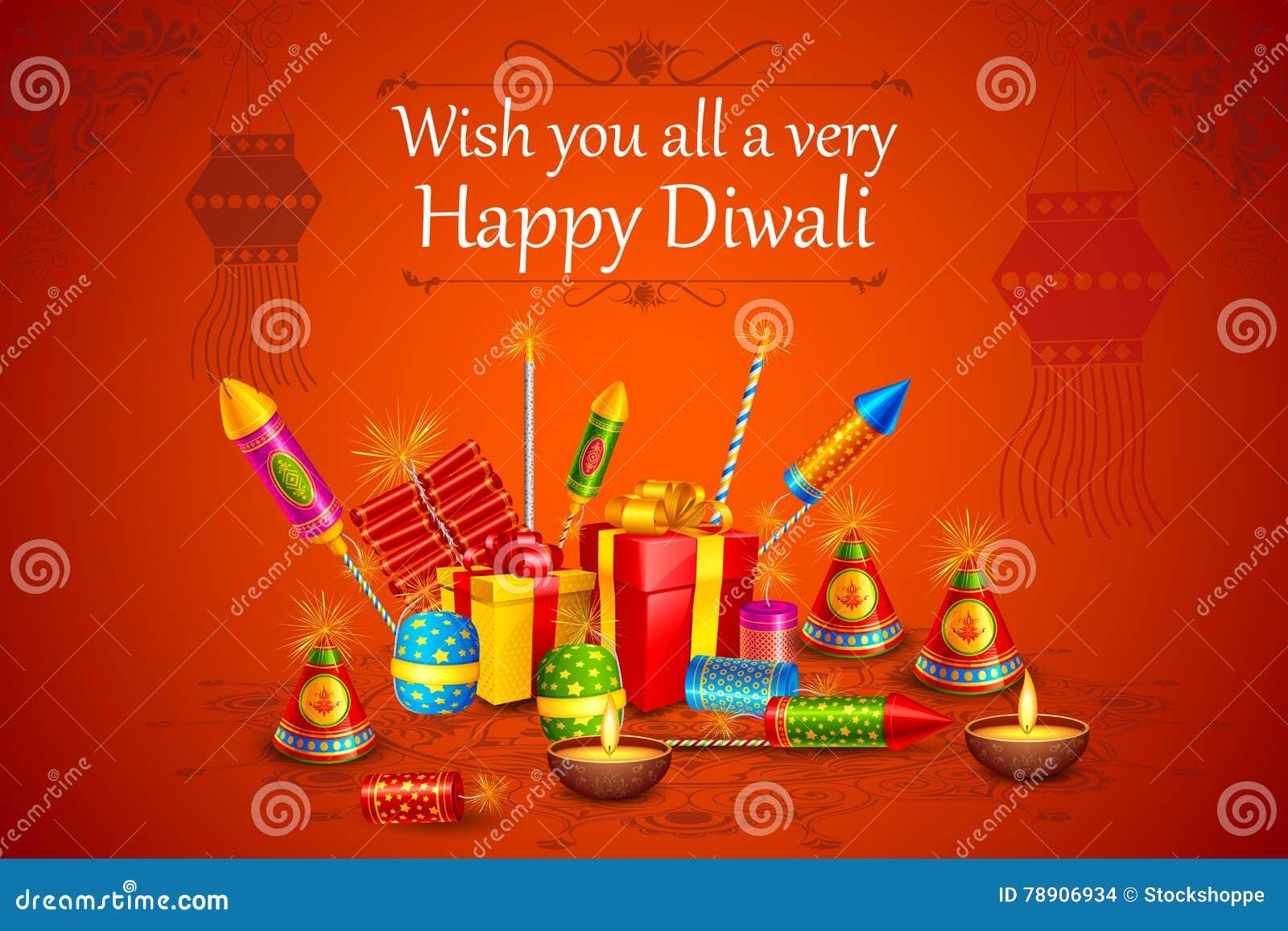 Brandcracker met verfraaide diya voor gelukkige Diwali-vakantie van India