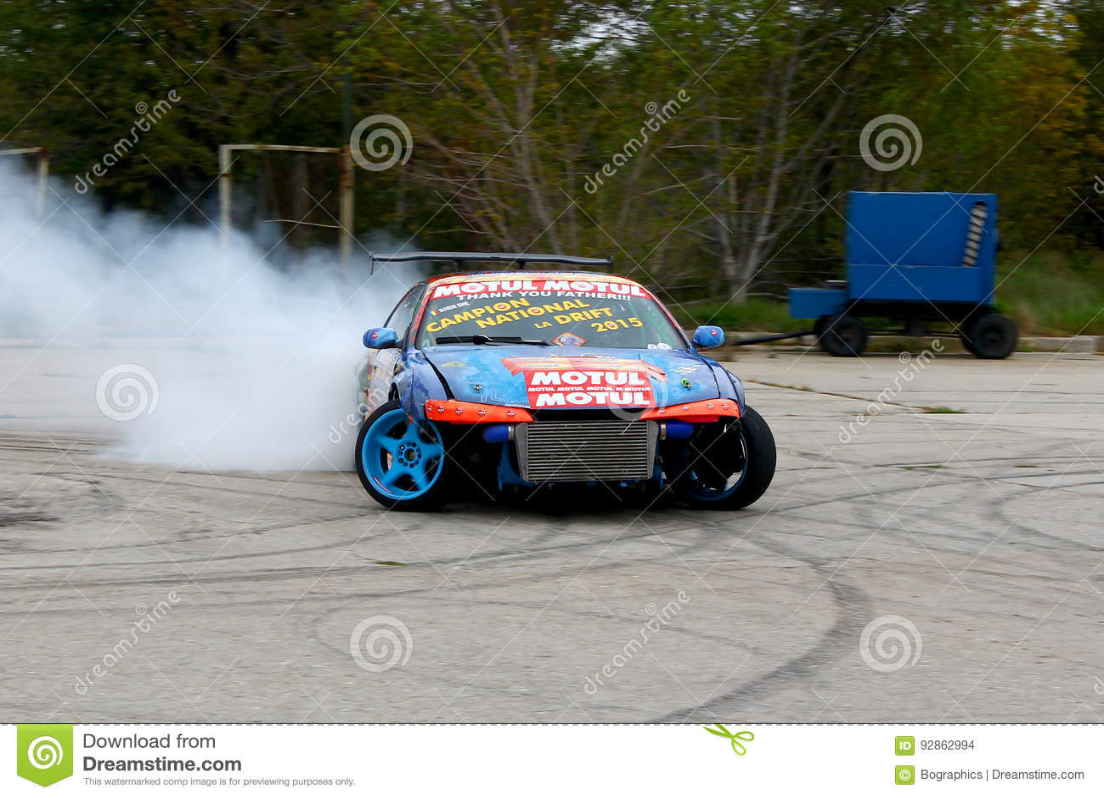 Branded drift car in action