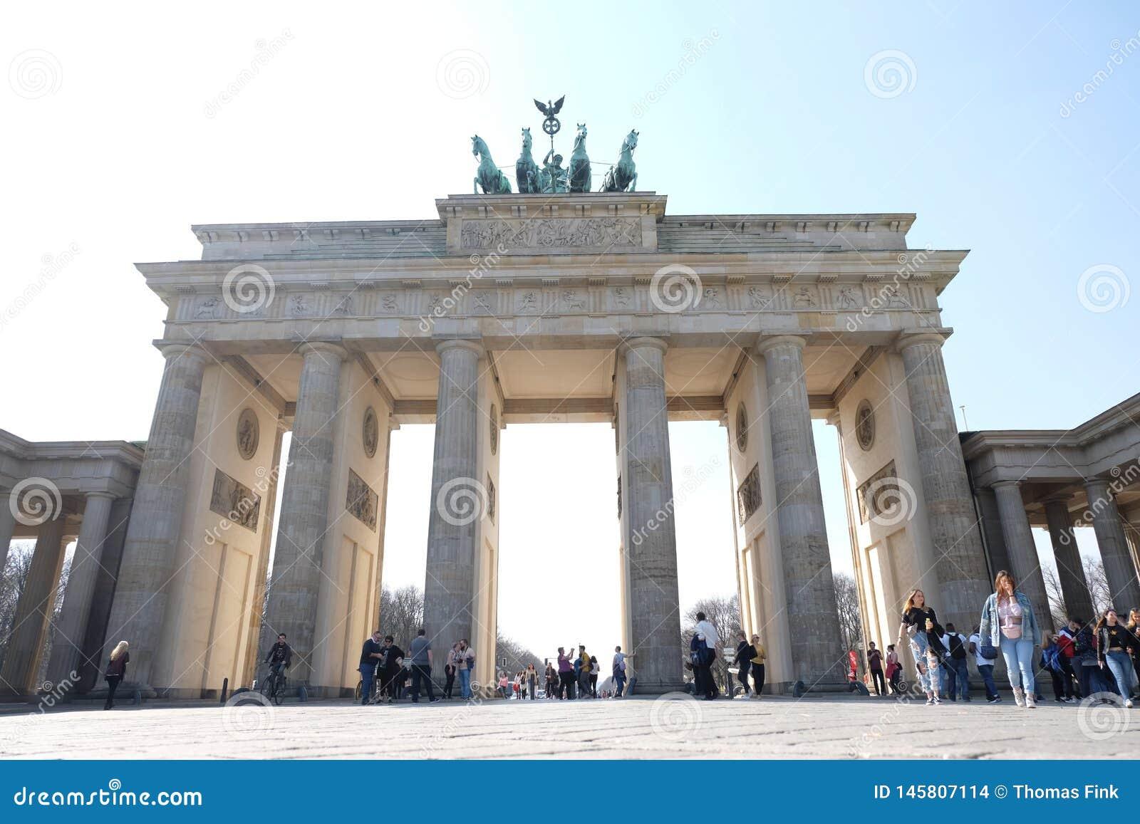 Brandenburg Gate Berlin with Blue Sky