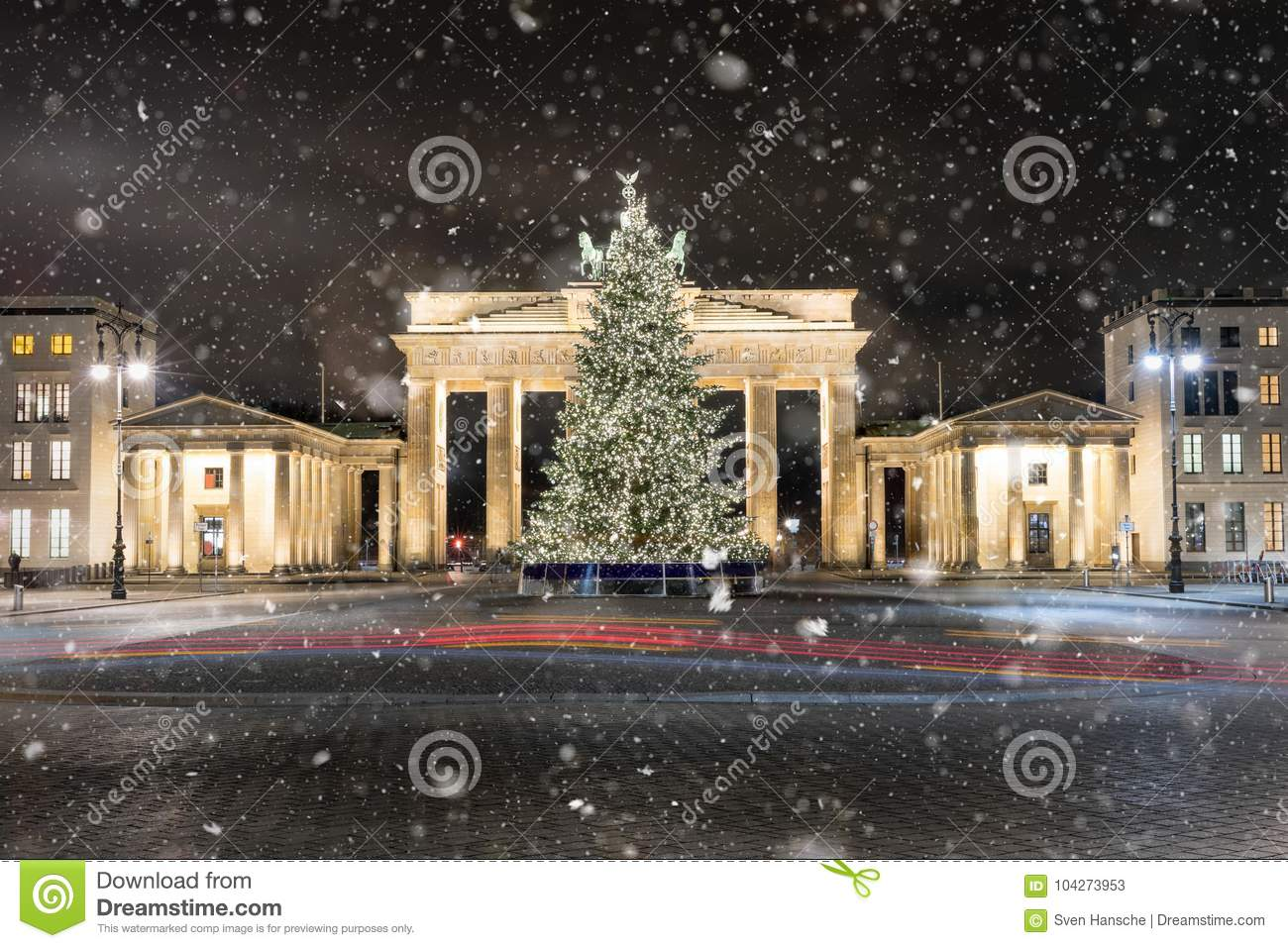 The Brandenburg Gate in Berlin with Christmas tree