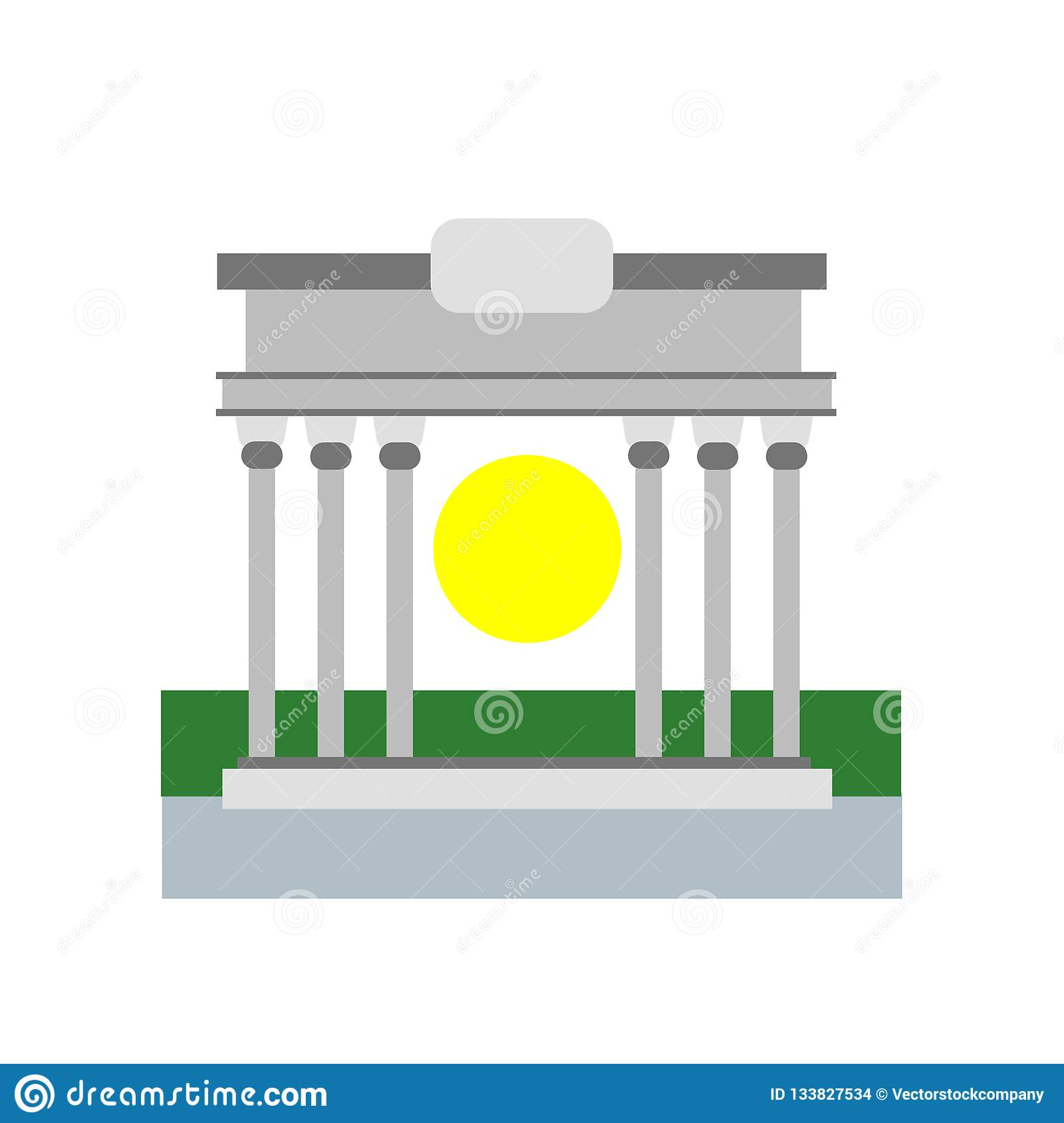 Brandenburg gate icon vector sign and symbol isolated on white b
