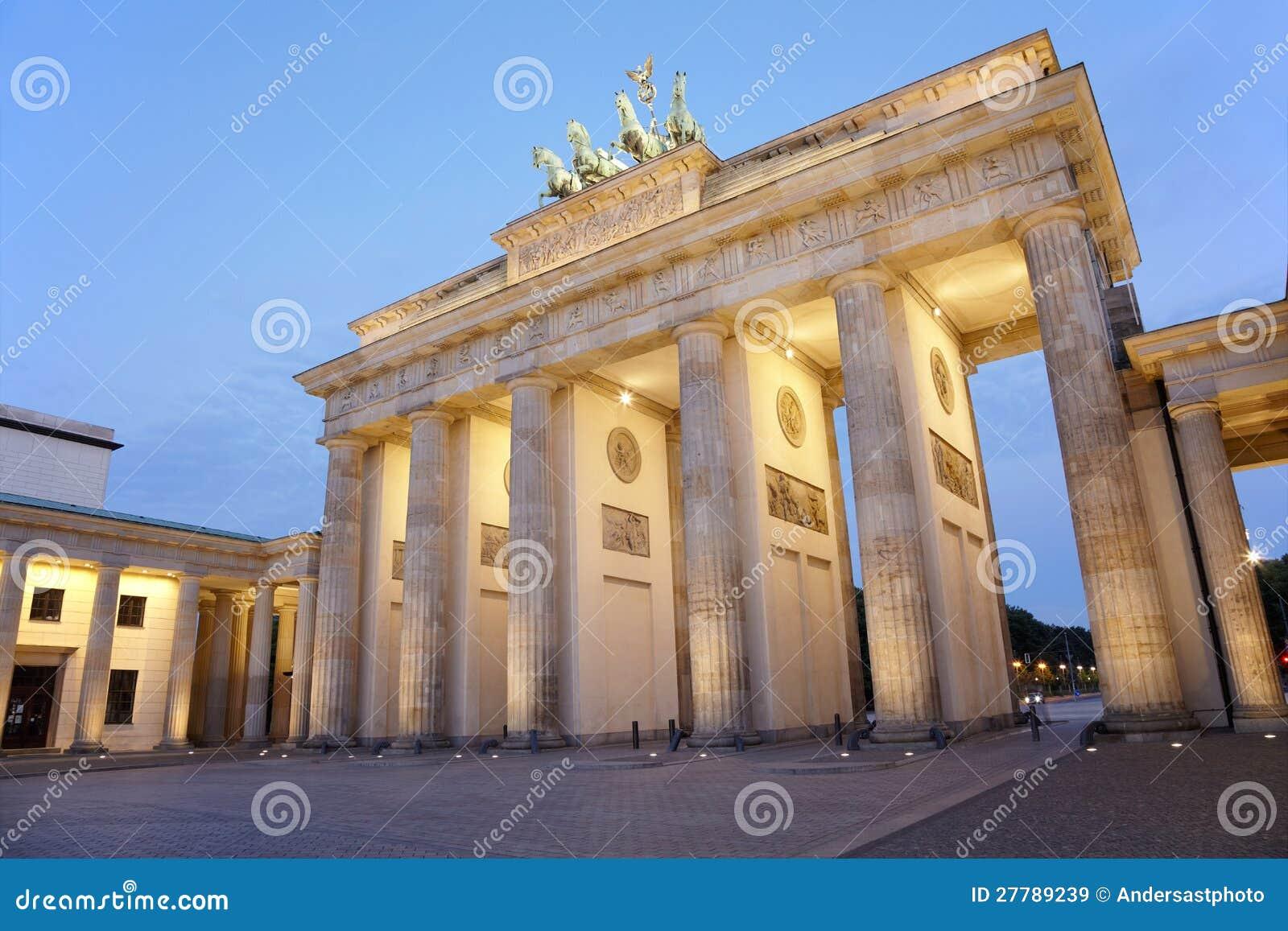 Brandenburg Gate At Night Berlin Stock Image Image