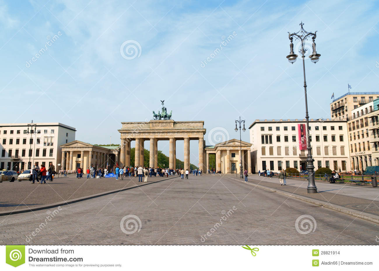 brandenburg gate and pariser platz in berlin editorial. Black Bedroom Furniture Sets. Home Design Ideas