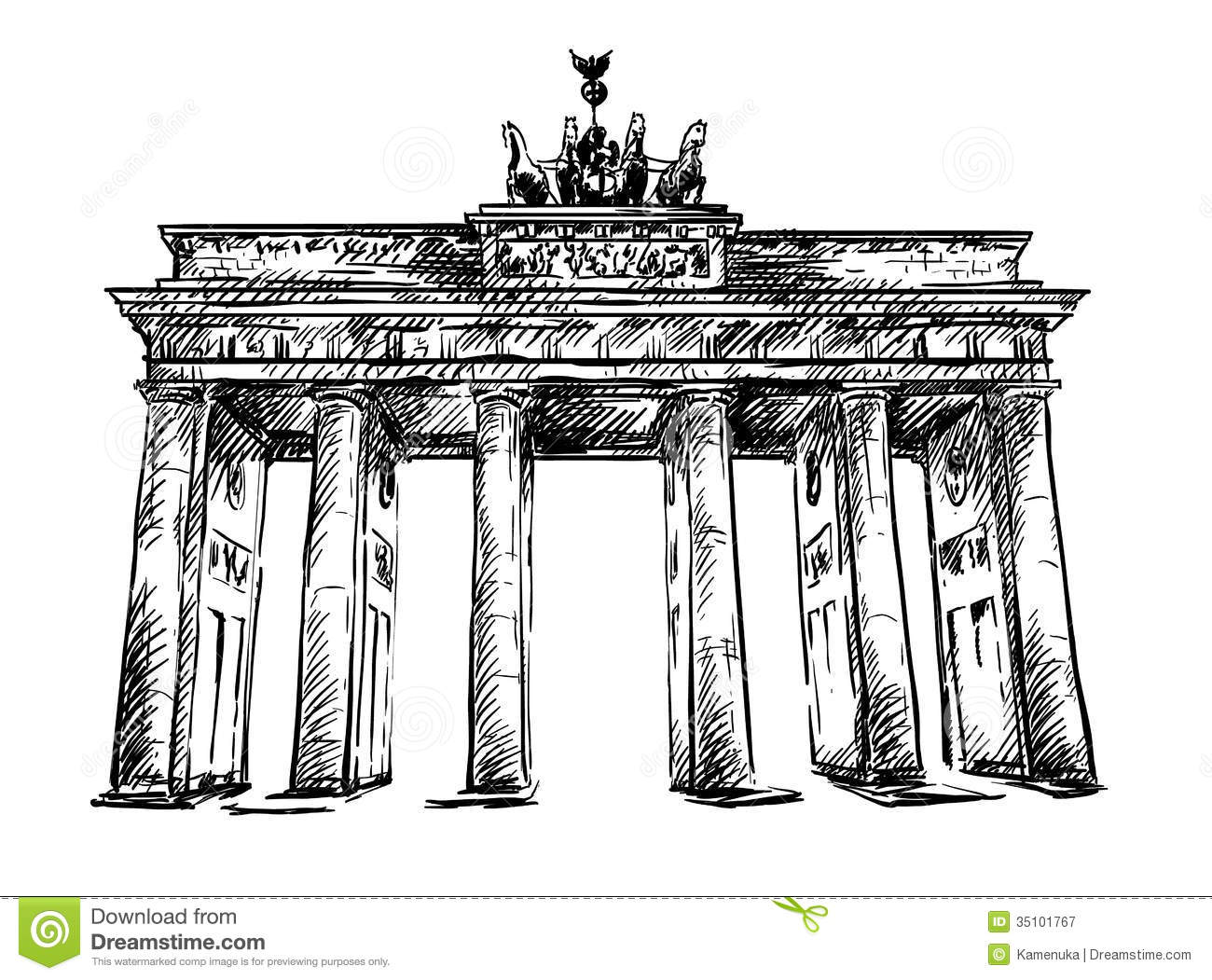 Brandenburg gate vector sketch stock vector image for Porte de brandebourg