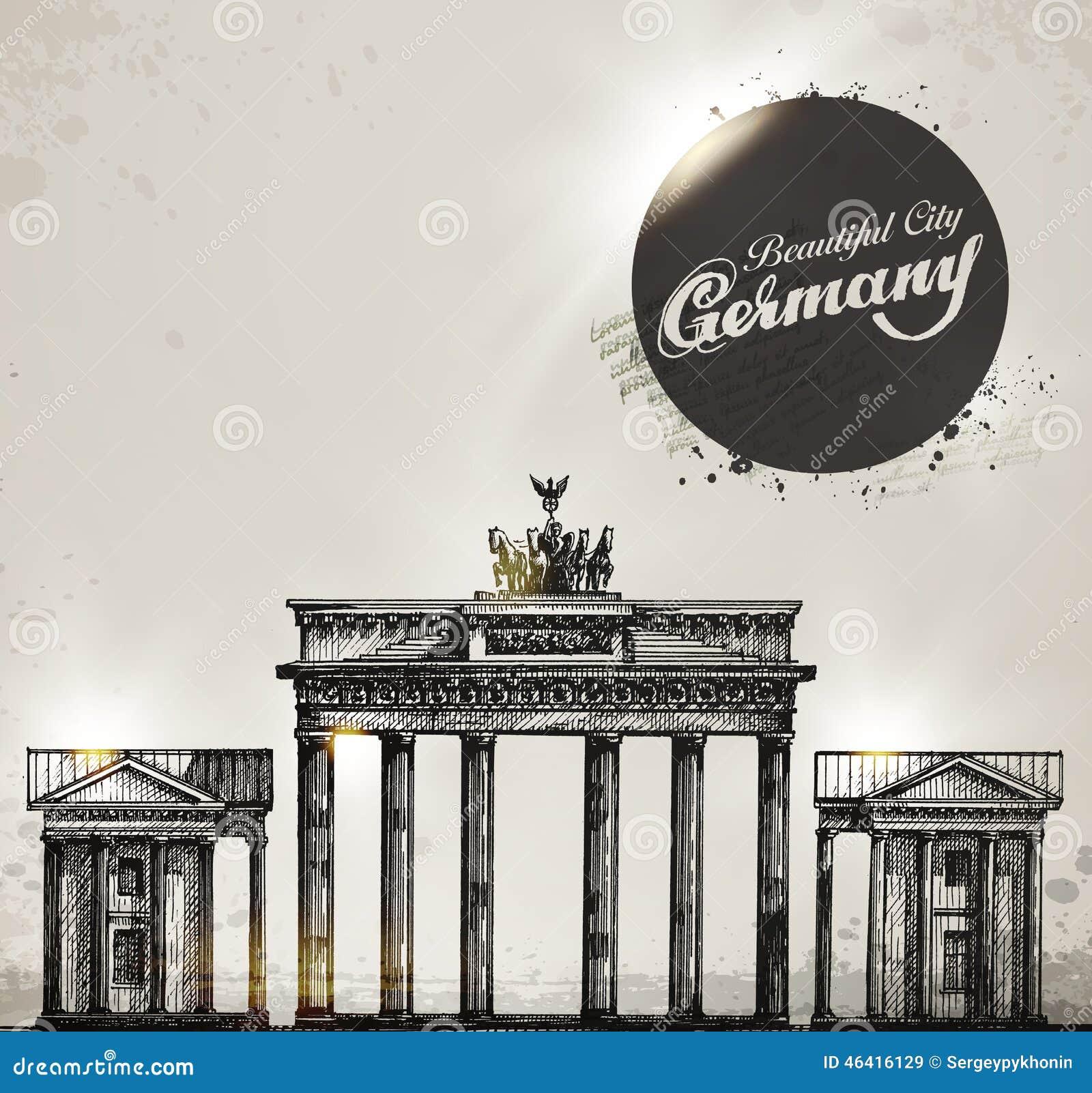 Brandenburger Tor Berlin Bogensymbol Hand Gezeichnet Vektor Abbildung Illustration Von Ernstlich Abbildung 46416129