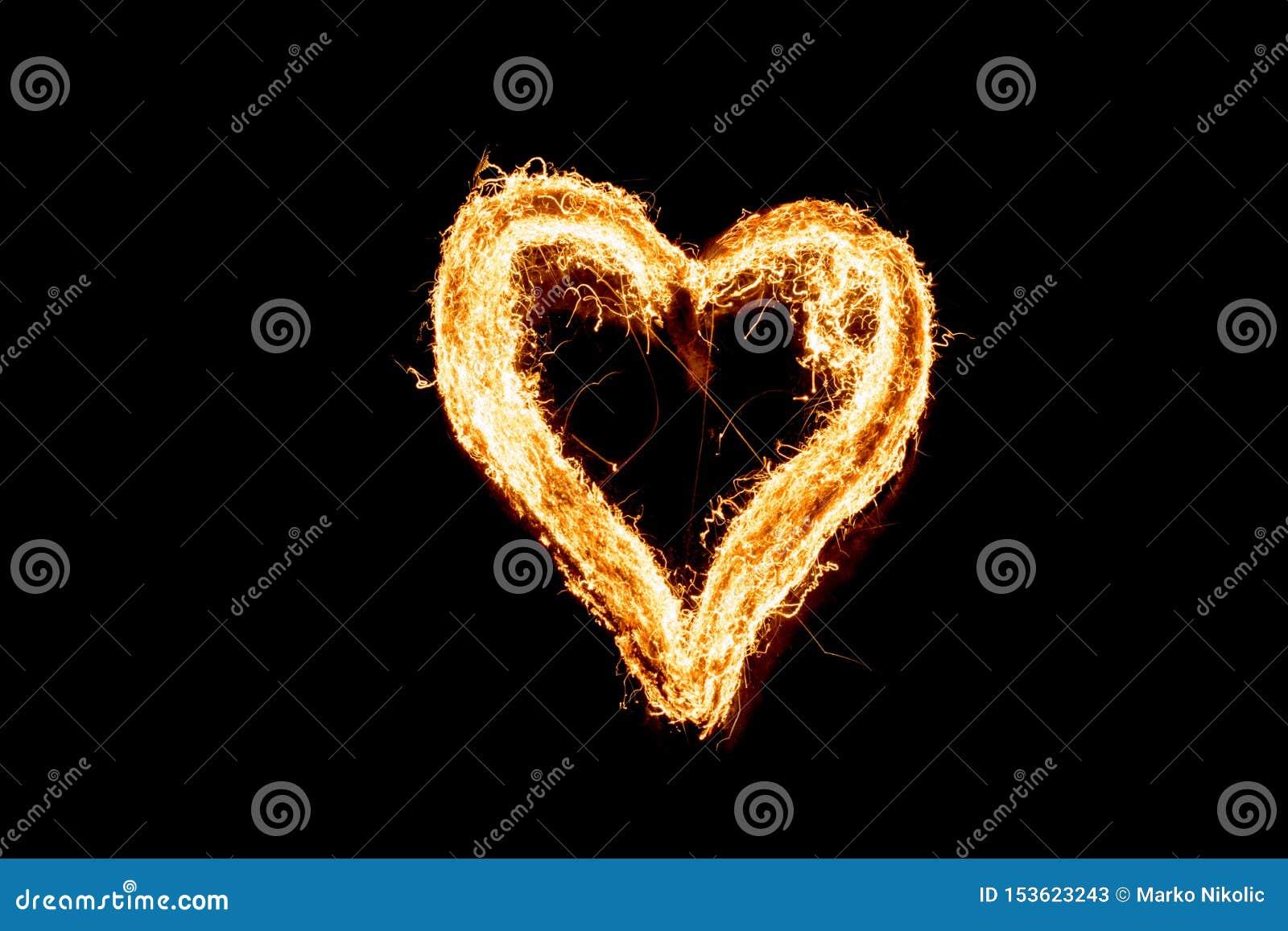 Brandend hart, staalwol Lange Blootstelling