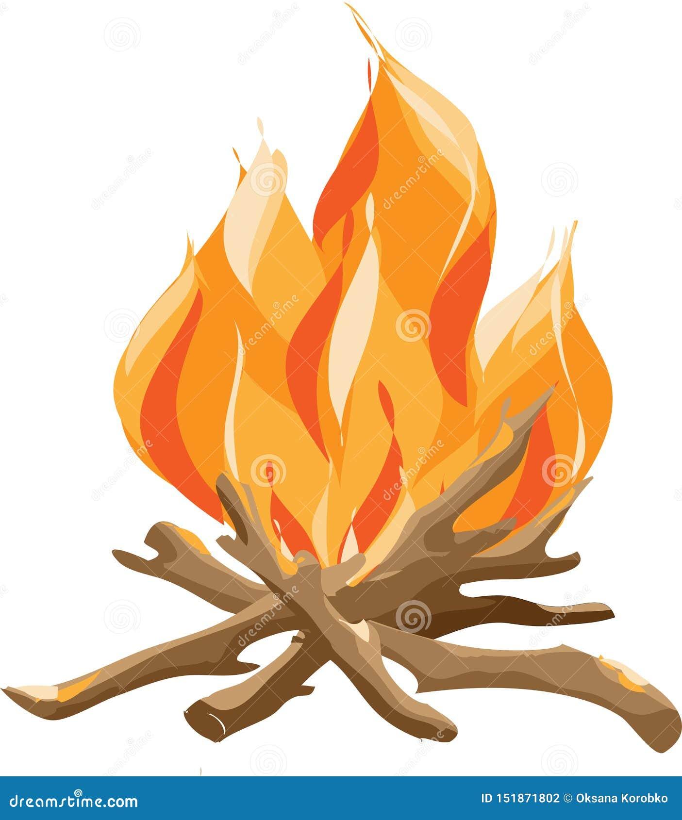Brandend Vuur met Hout De vectorillustratie van de beeldverhaalstijl van vuur