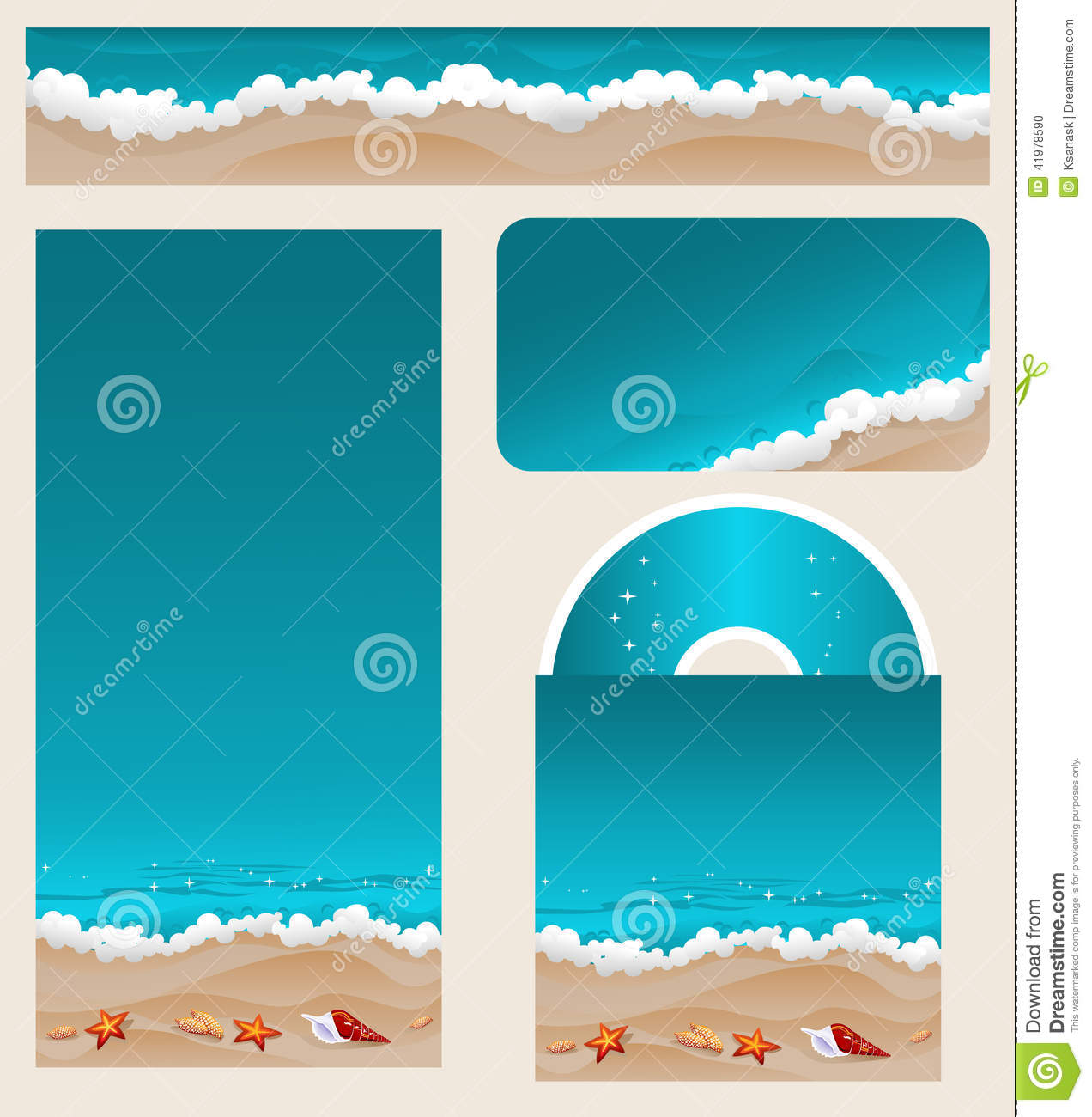 Beach Theme Card Stock: Branding Design Beach Theme Stock Vector