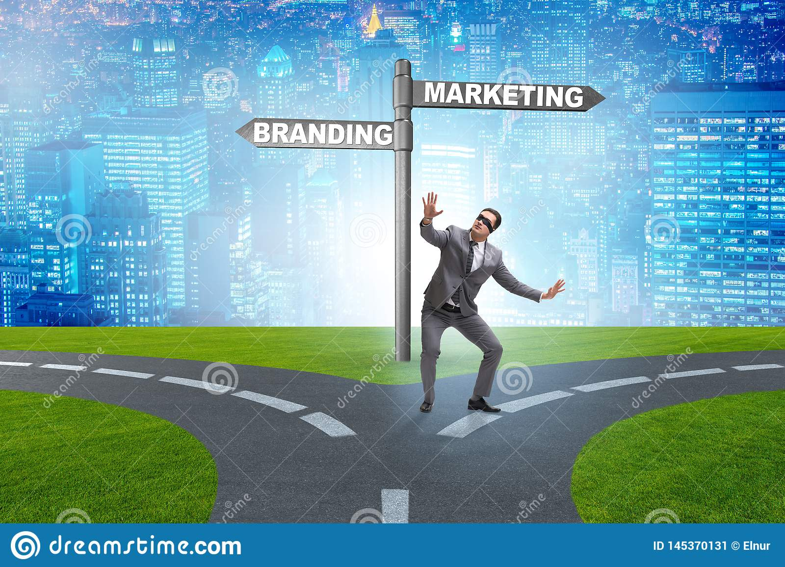 The branding and marketing concept with businessman