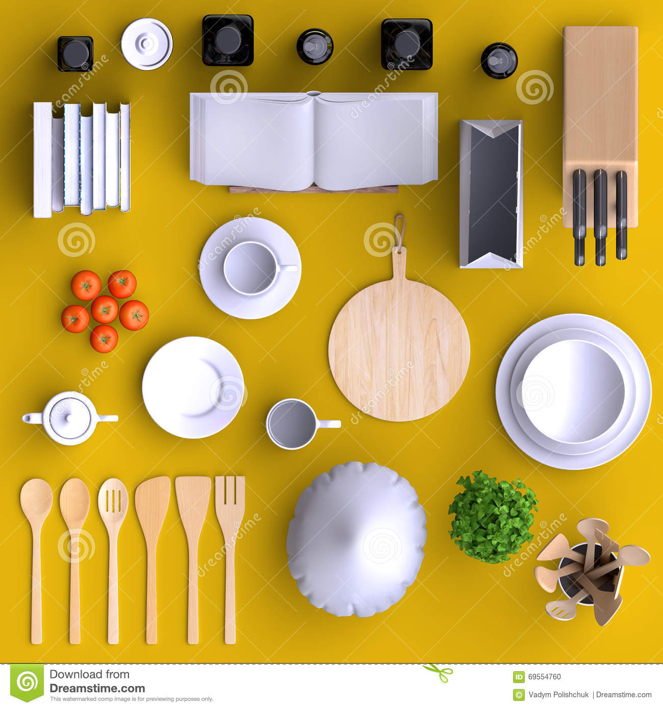 Branding Mock Up Kitchen With Table And Kitchenware. Stock