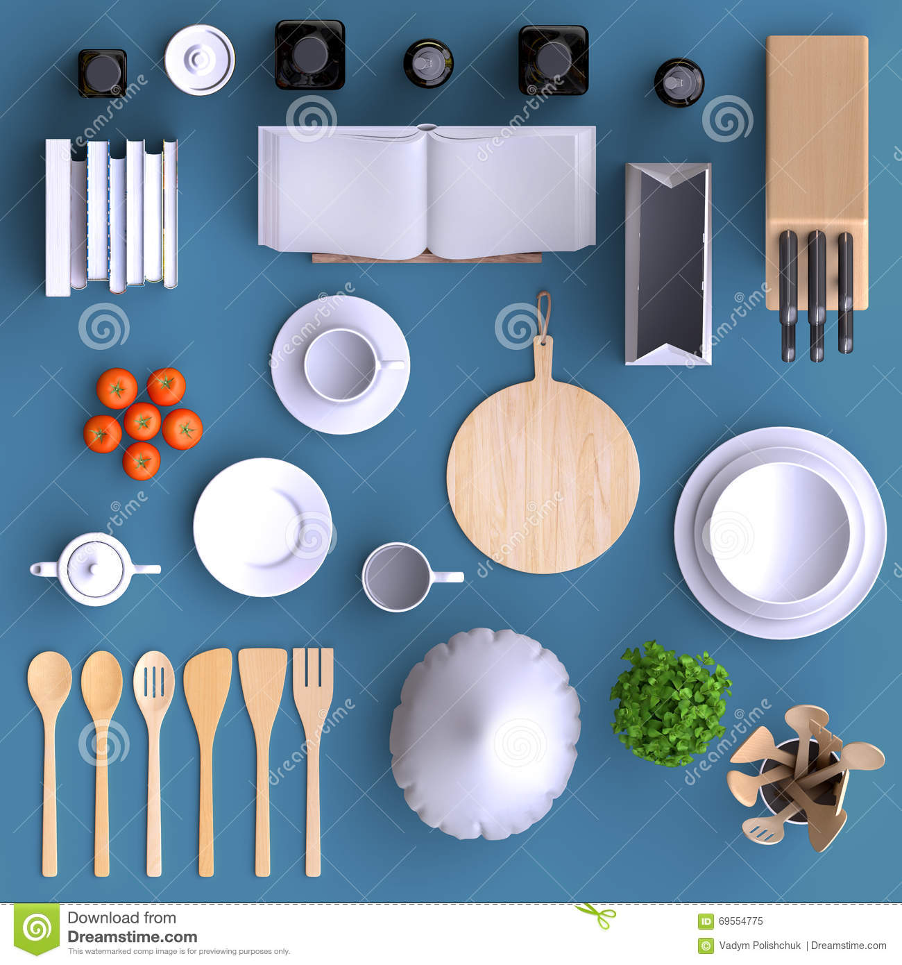 Branding Mock Up Kitchen With Table And Kitchenware Blank Template On Color Background For Home