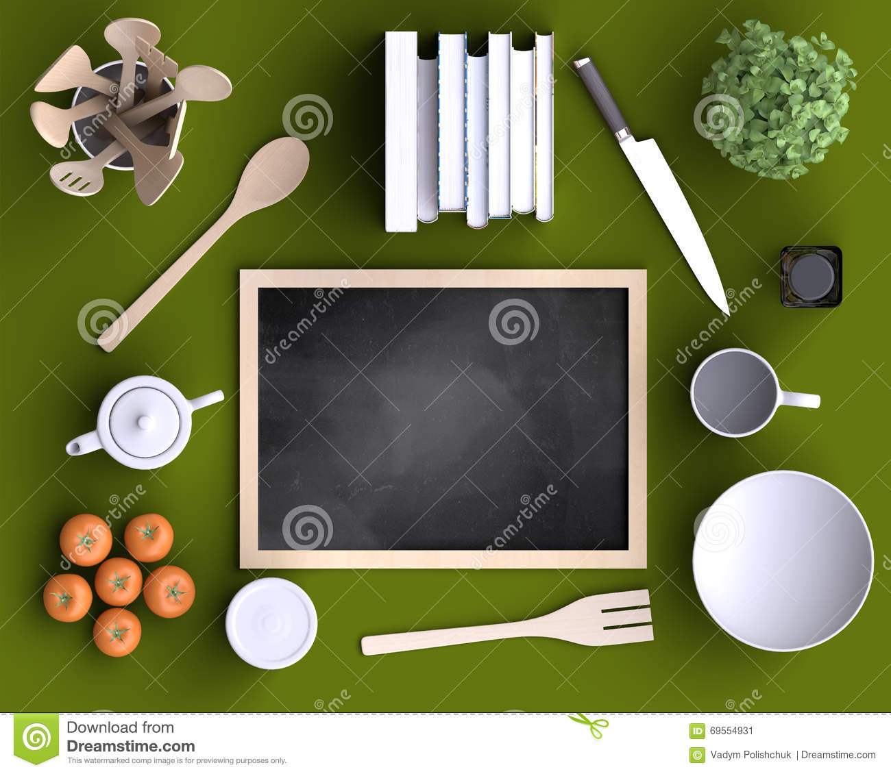 Branding Mock Up Kitchen With Table And Kitchenware Stock Illustration Image 69554931