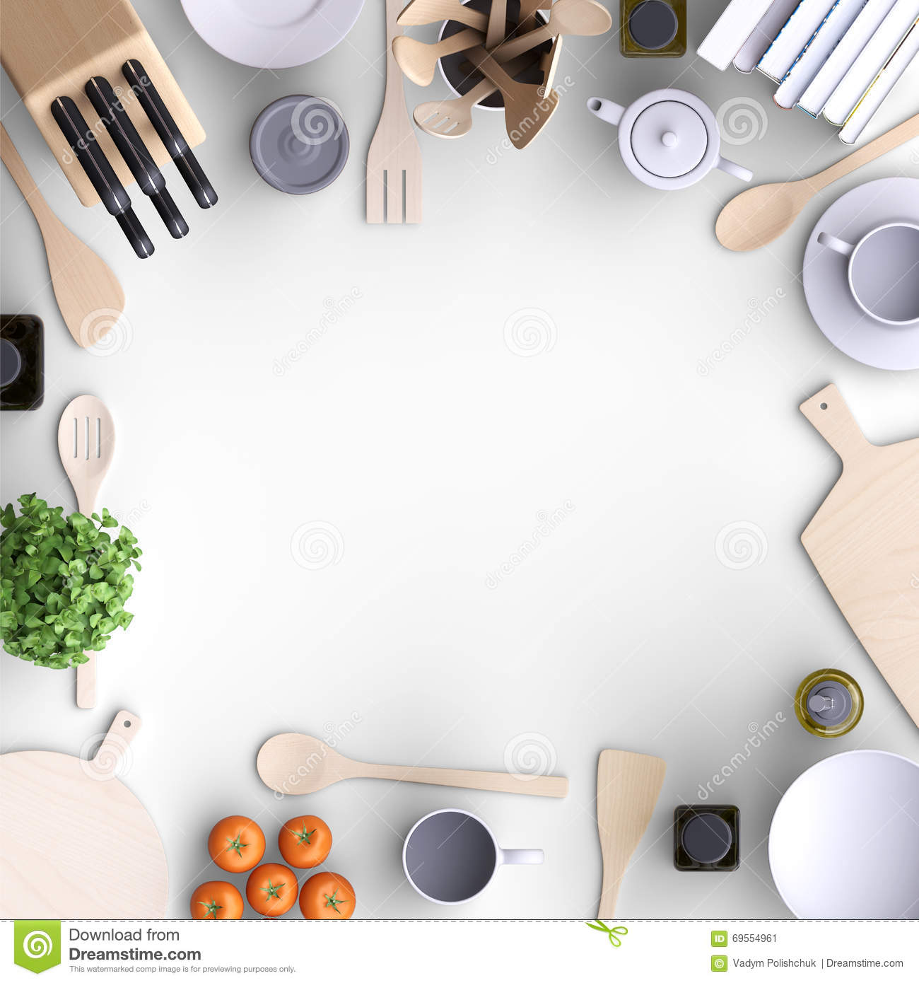 Kitchen View From Above : Branding mock up kitchen with table and kitchenware