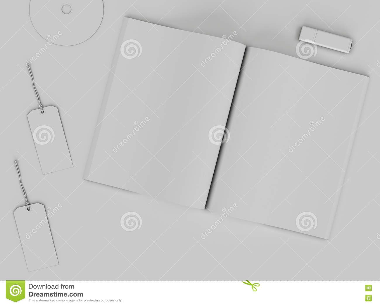 Branding Mockup Template White Set On Background 3d Rendering 3D Illustration