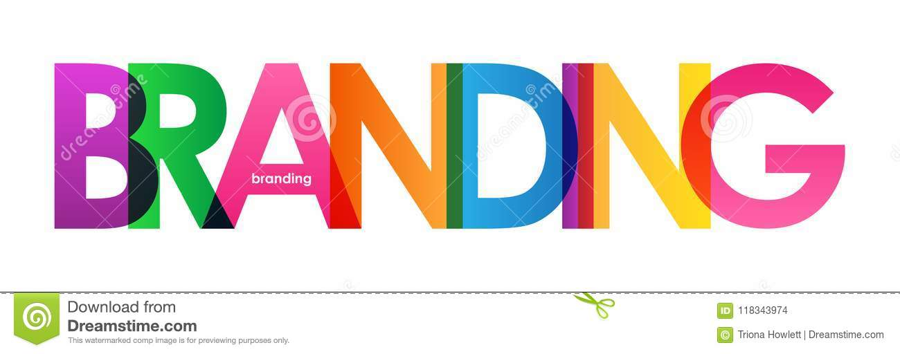 branding colorful overlapping letters banner stock illustration