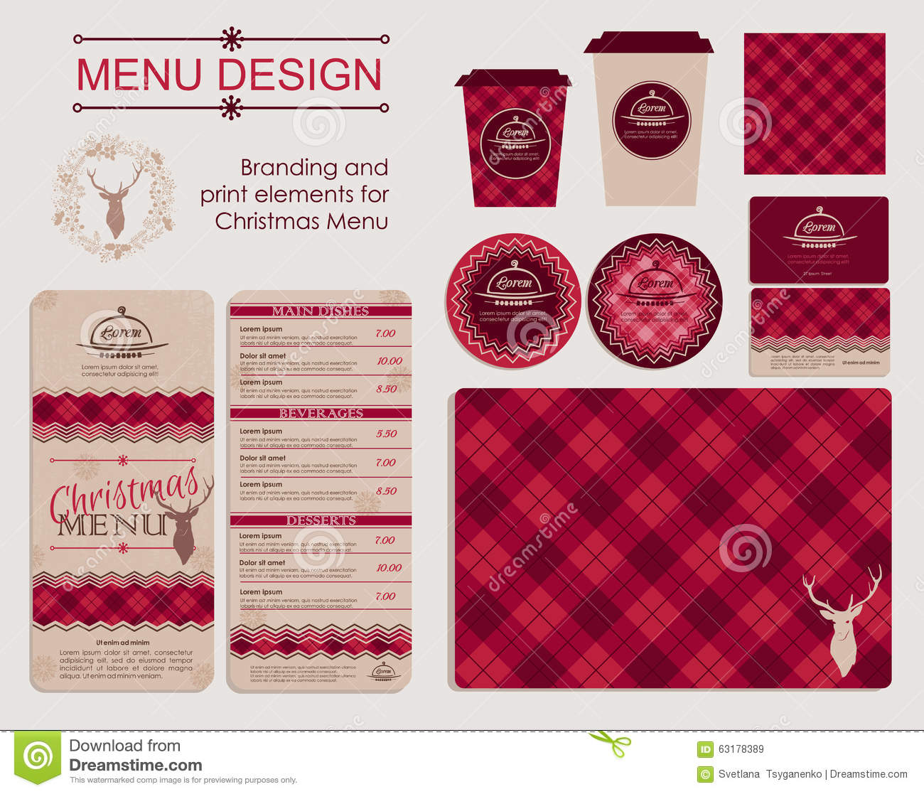 Branding And Print Elements For Christmas Menu Stock Vector