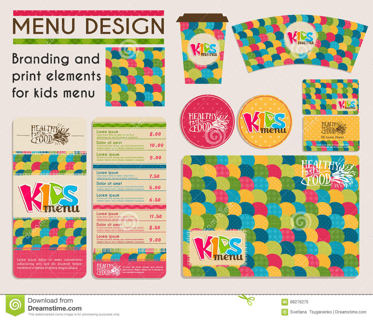 branding and print elements for kids menu stock vector