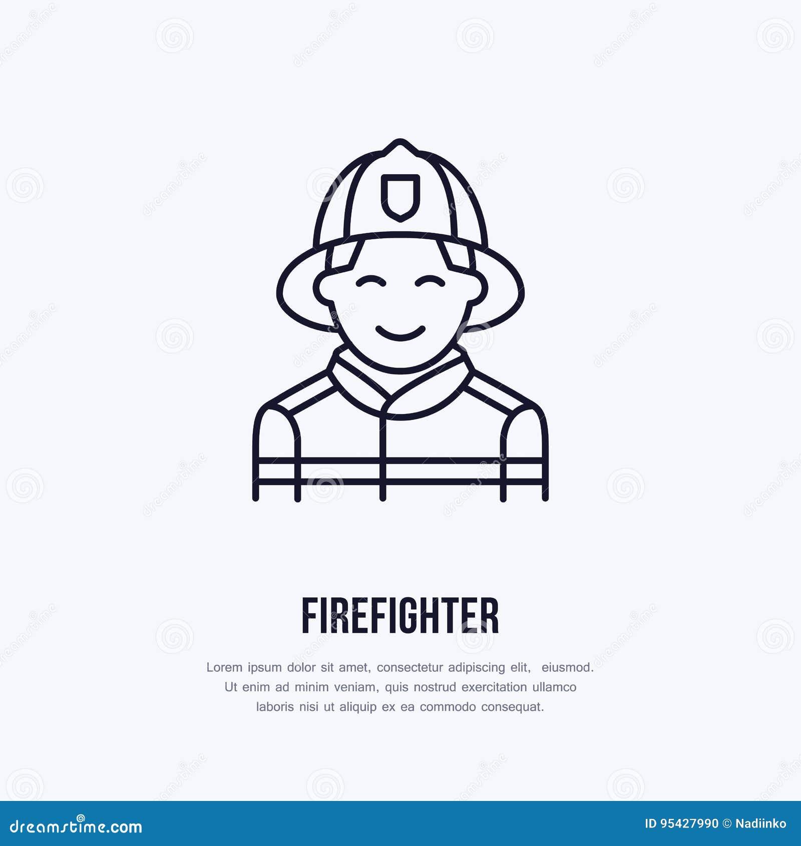 Brandmanlägenhetlinje tecken Tunn linjär symbol för flammaskydd, pictogram Le vektorn för brandkämpe på vit