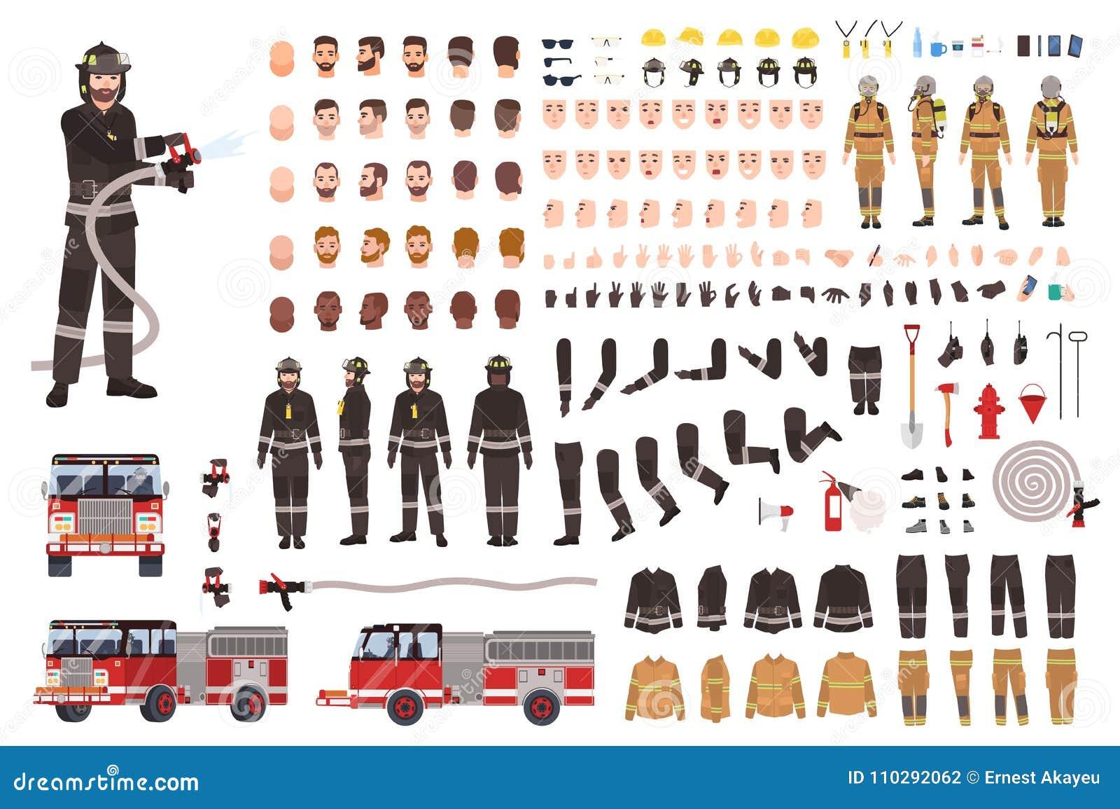 Brandmanskapelseuppsättning eller konstruktör Samling av brandmankroppsdelar, ansiktsuttryck, skyddskläder