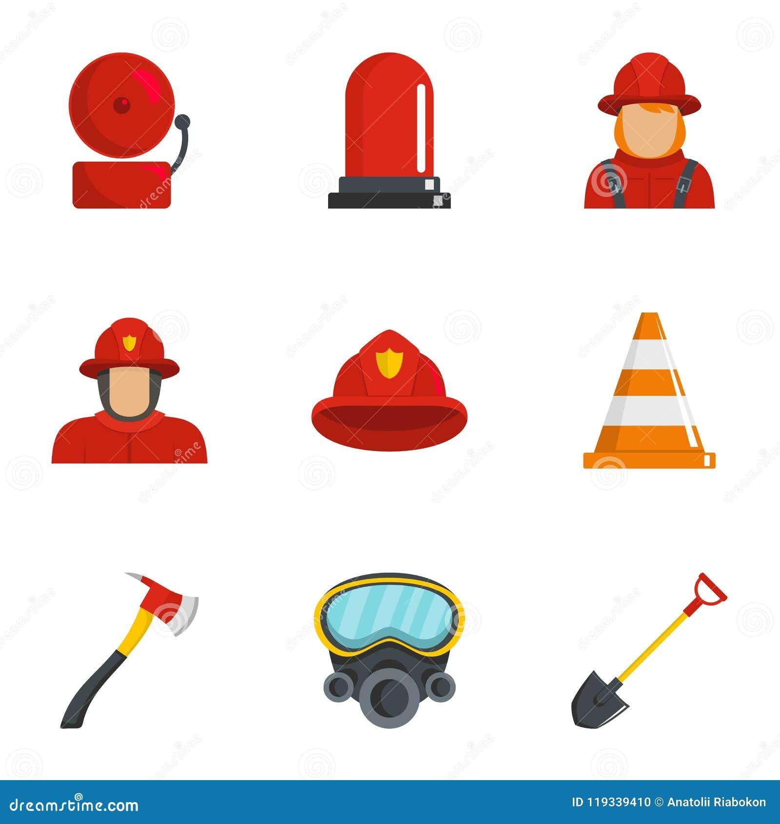 Brandmansymboler uppsättning, tecknad filmstil