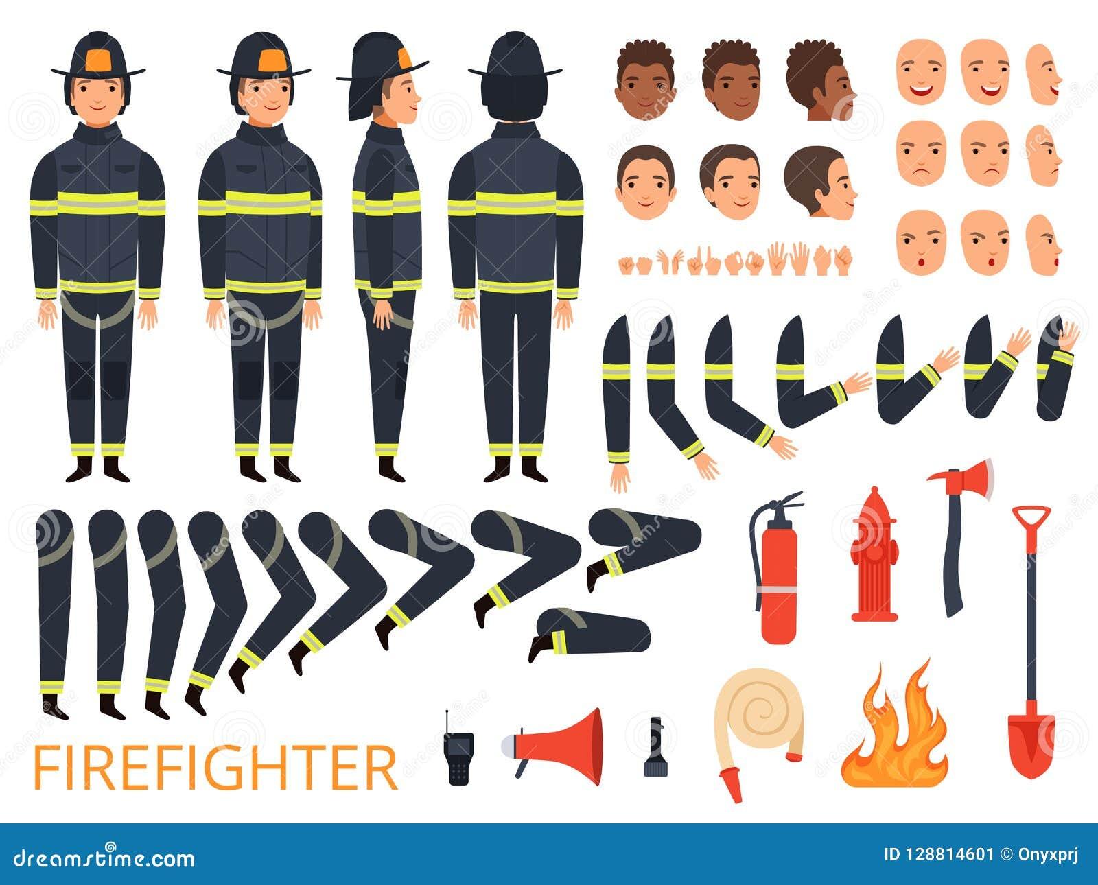 Brandmantecken Brandmankroppsdelar och special likformig med den yrkesmässiga skyffeln för hjälpmedelstridbrandsläckare
