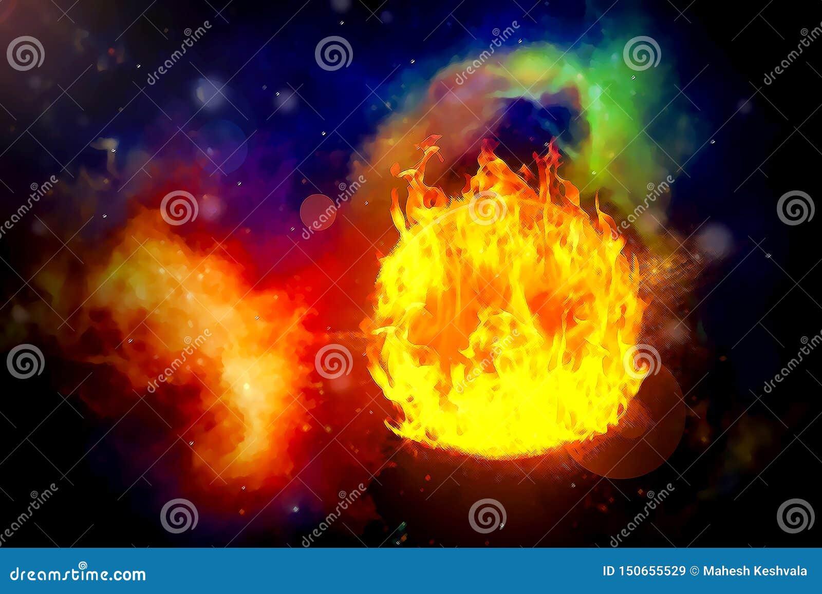 Brandplaneet in de achtergrondmelkwegen en de lichtgevende sterren