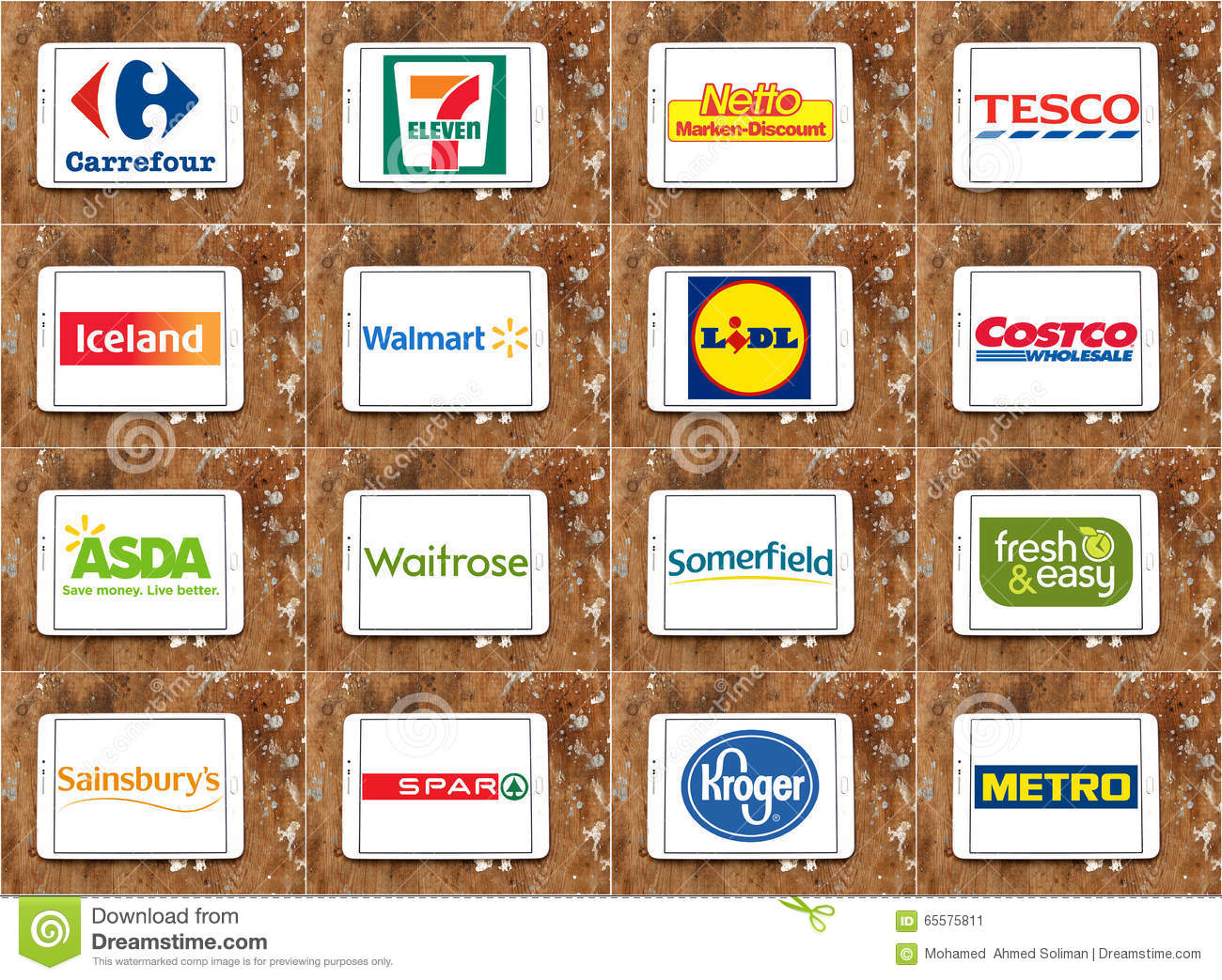 Brands and logos of top famous supermarket chains and retail