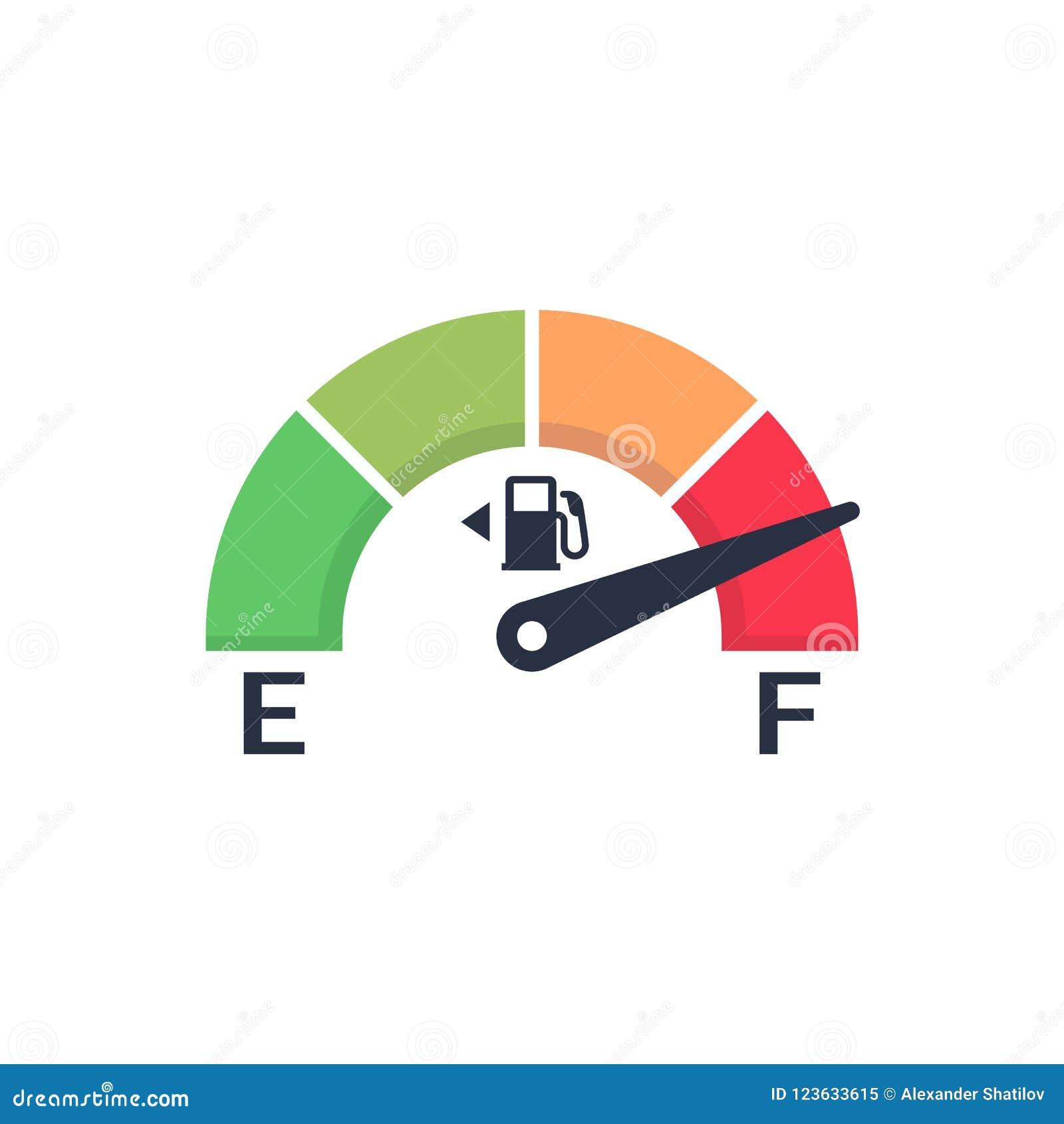 Brandstofmeter Automobiel indicatormalplaatje Gasmaat Geïsoleerd op blauwe achtergrond De sensor van de autocontrole Vectorillust
